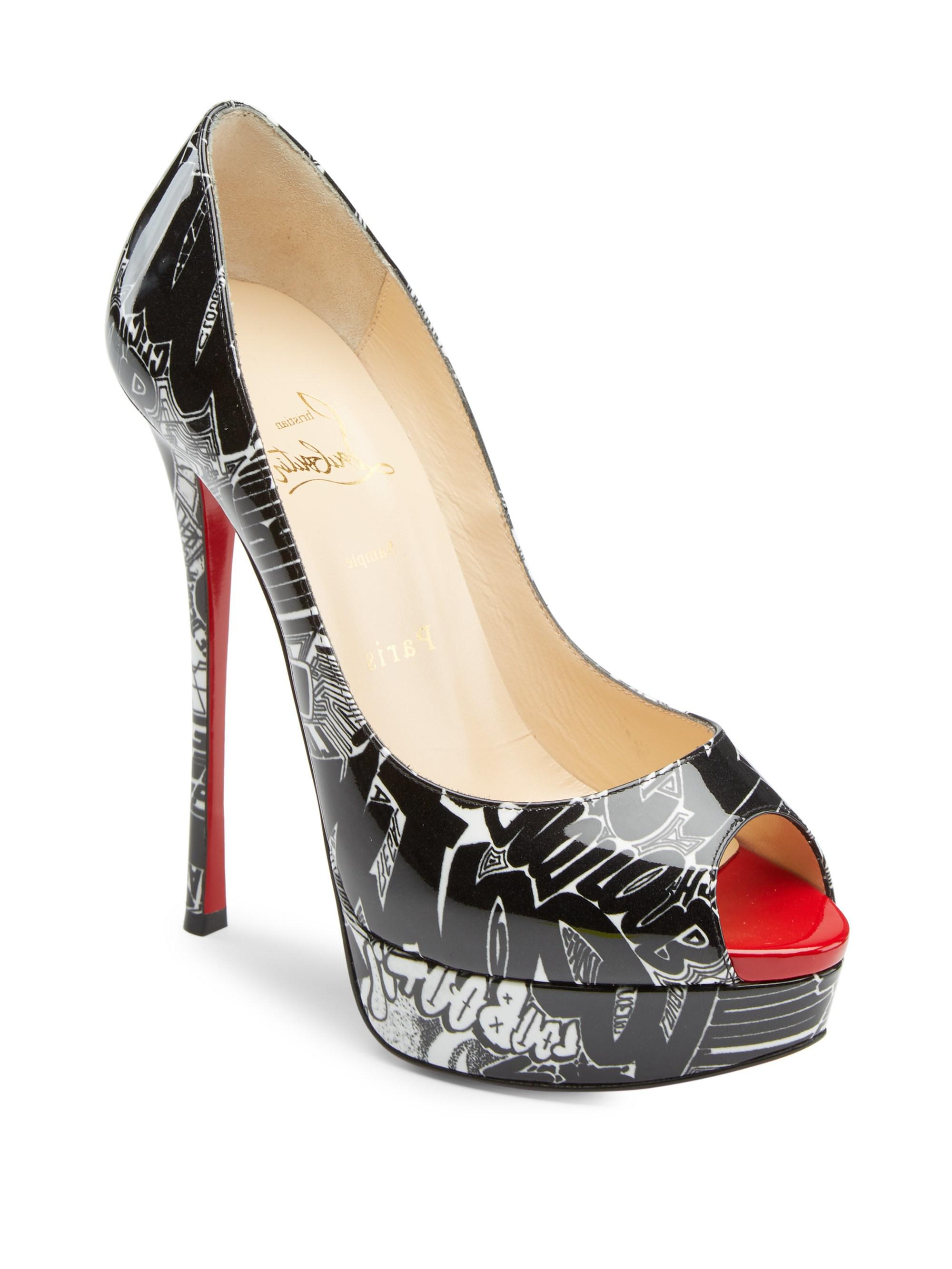 409d1ad89d1 Christian Louboutin Fetish Peep 130 Printed Patent Leather Pumps in ...