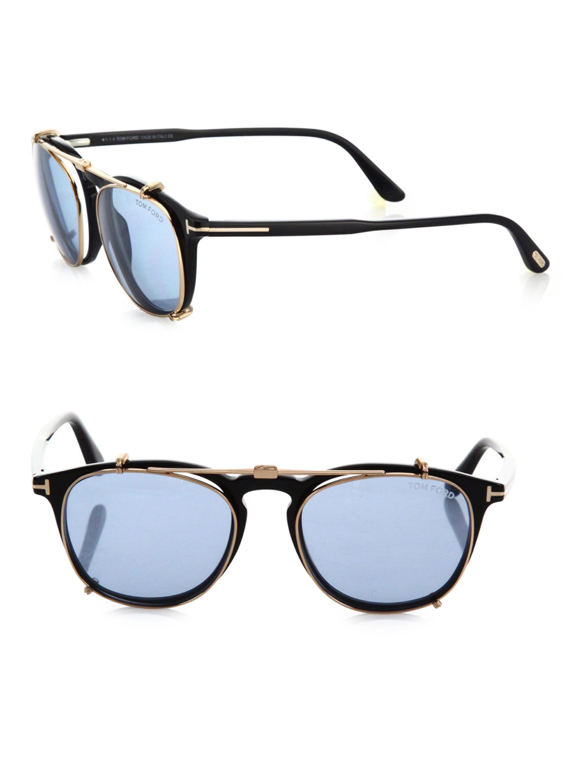 878c5695b12 Lyst - Tom Ford 50mm Round Optical Glasses   Clip-on Sunglasses in Blue