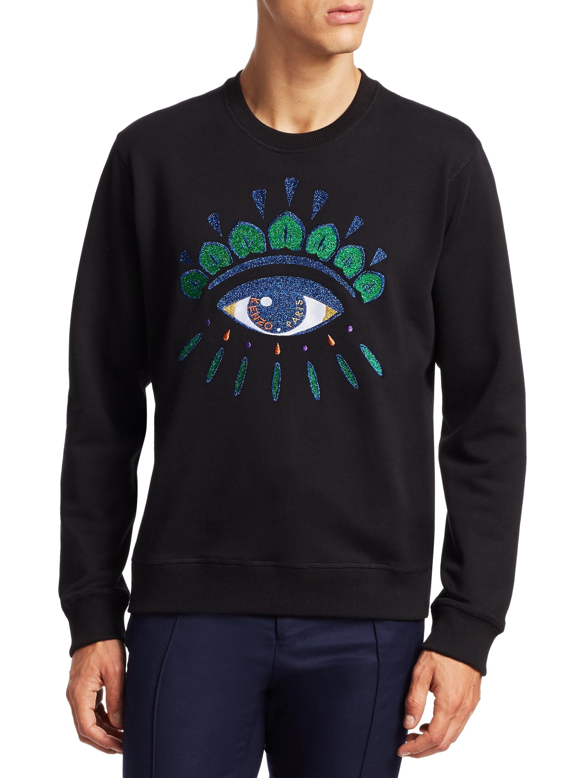 fefce06dd KENZO Men's Embroidered Eye Graphic Pullover - Black in Black for ...