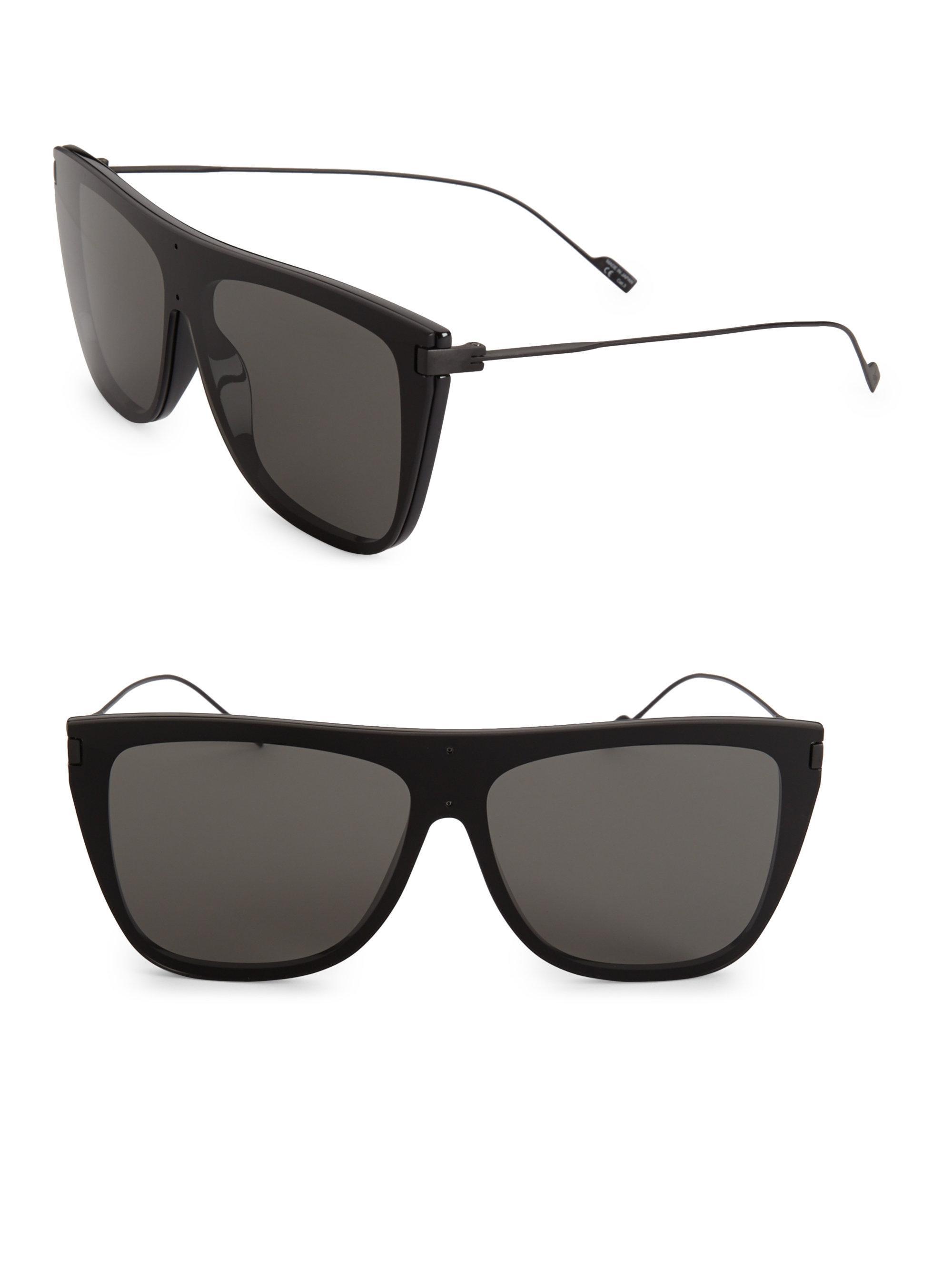 7c25ec66371 Saint Laurent 99mm Square Frame Sunglasses in Black for Men - Lyst