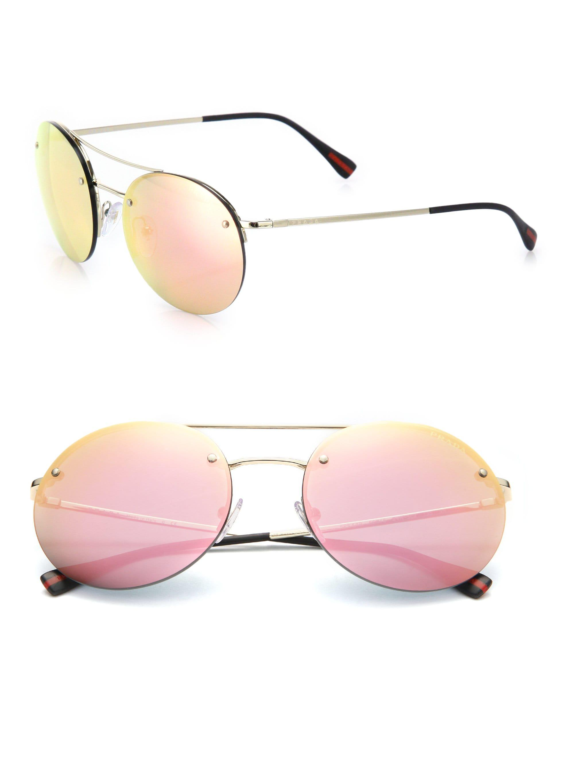 307fa50be713 Prada 56mm Round Metal Sunglasses in Pink for Men - Lyst