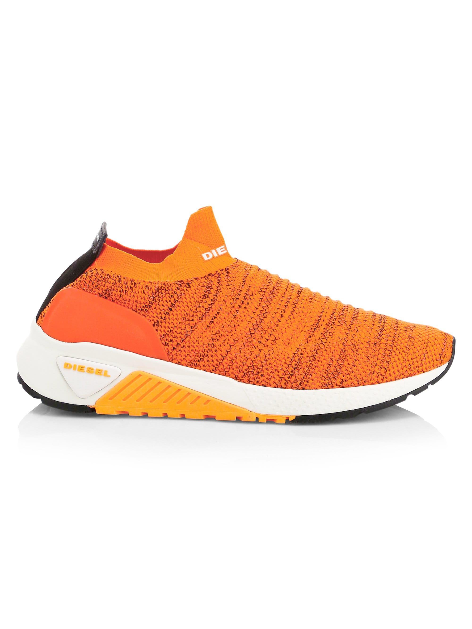 free shipping cb911 801a2 DIESEL Mens Athletic Sock Sneakers - Orange - Size 7 Uk (8 U