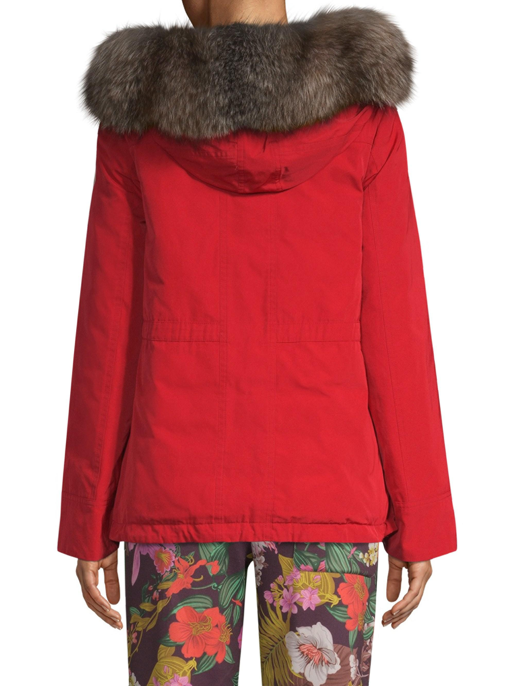 48e11178ac95 Moncler Macareux Fur-trim Coat in Red - Lyst