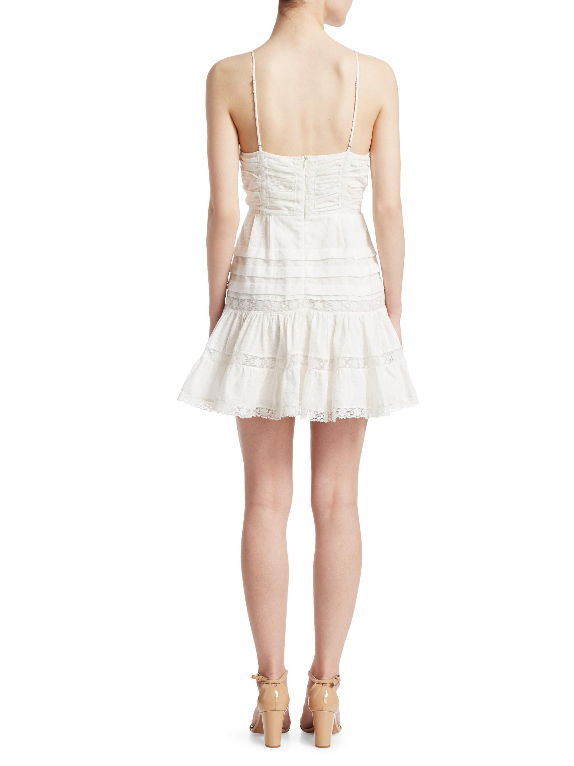 cd3ac76641d Lyst - Zimmermann Iris Lace-paneled Swiss-dot Cotton Mini Dress in White