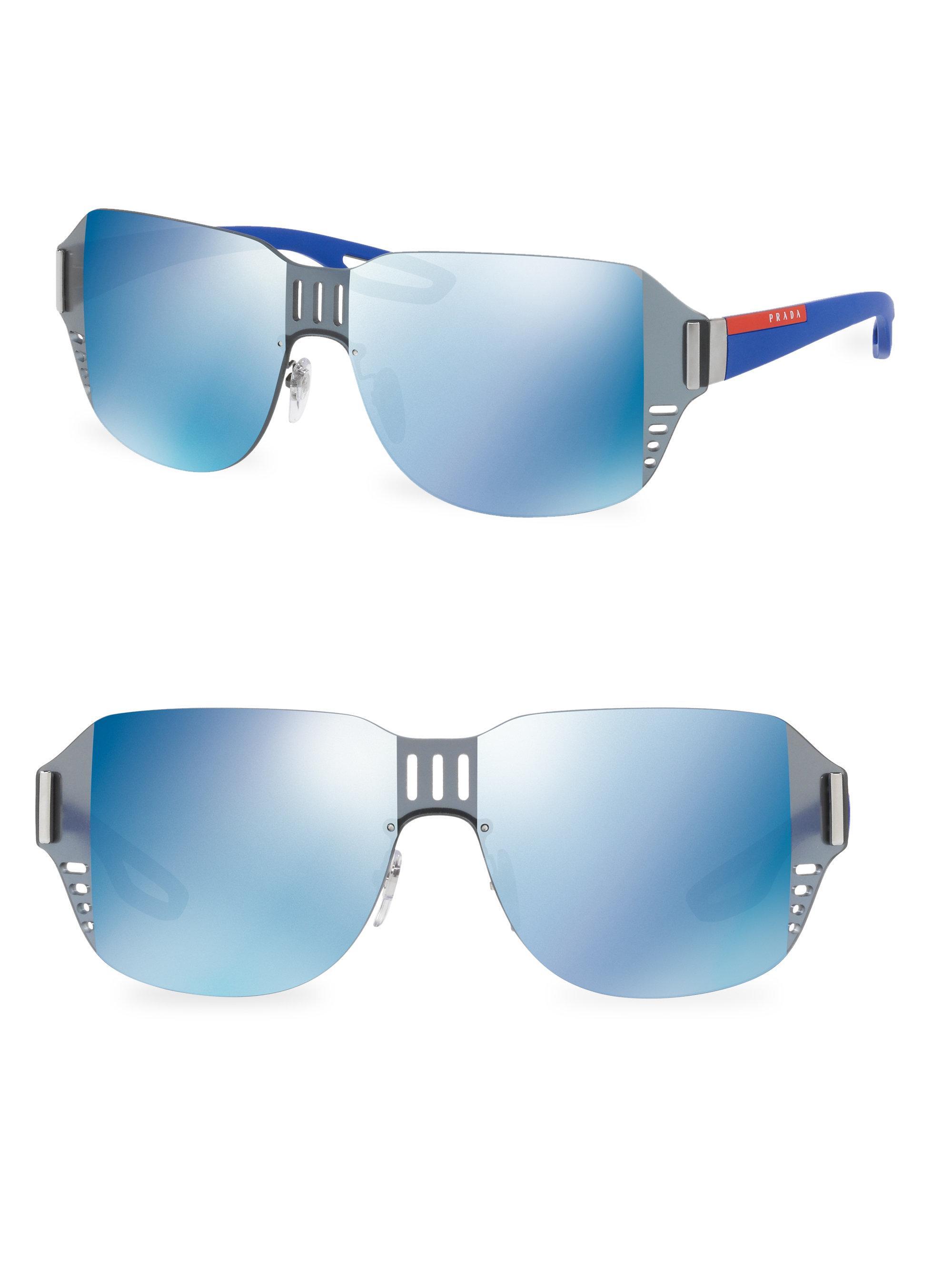 c4864bf31b3 closeout prada milano sunglasses unisex 8dca5 420a1  get lyst prada sport  mirrored shield sunglasses in blue c1c84 1ff77