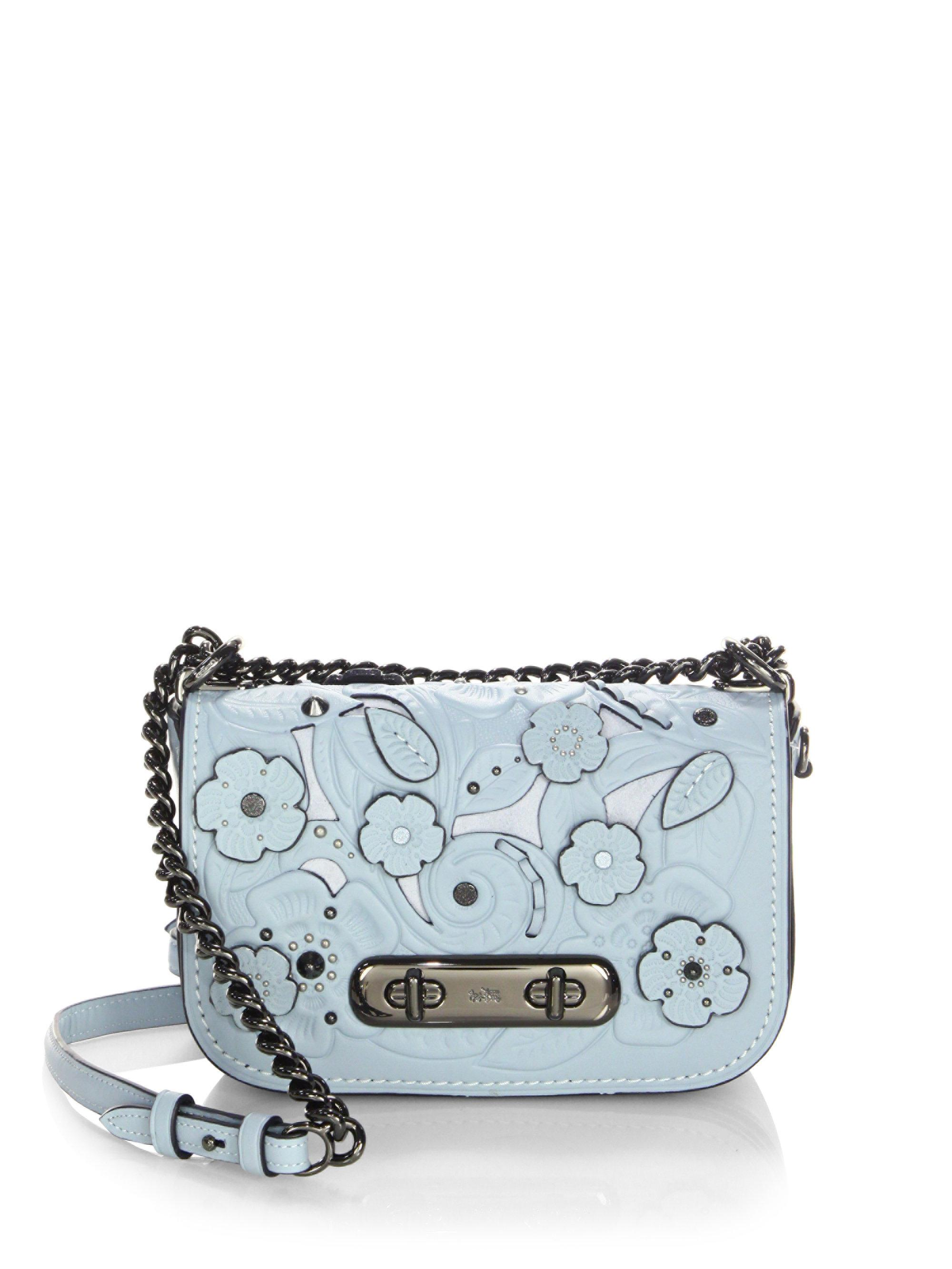 8494d89d1412 Lyst - COACH Swagger Flower Leather Crossbody Bag in Blue