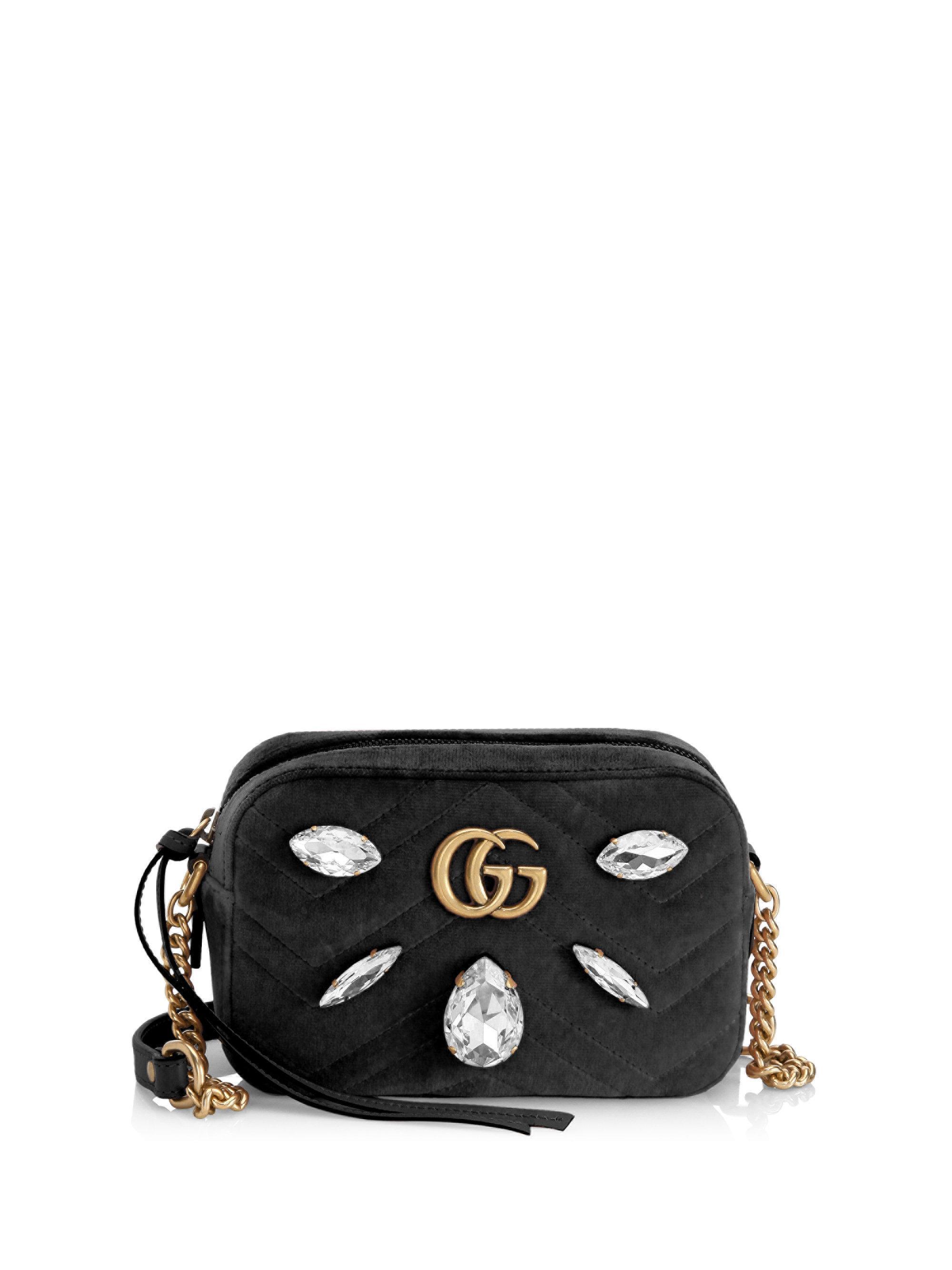 9c7b3b3fb41e8f Gucci Gg Marmont Velvet Mini Bag in Black - Lyst