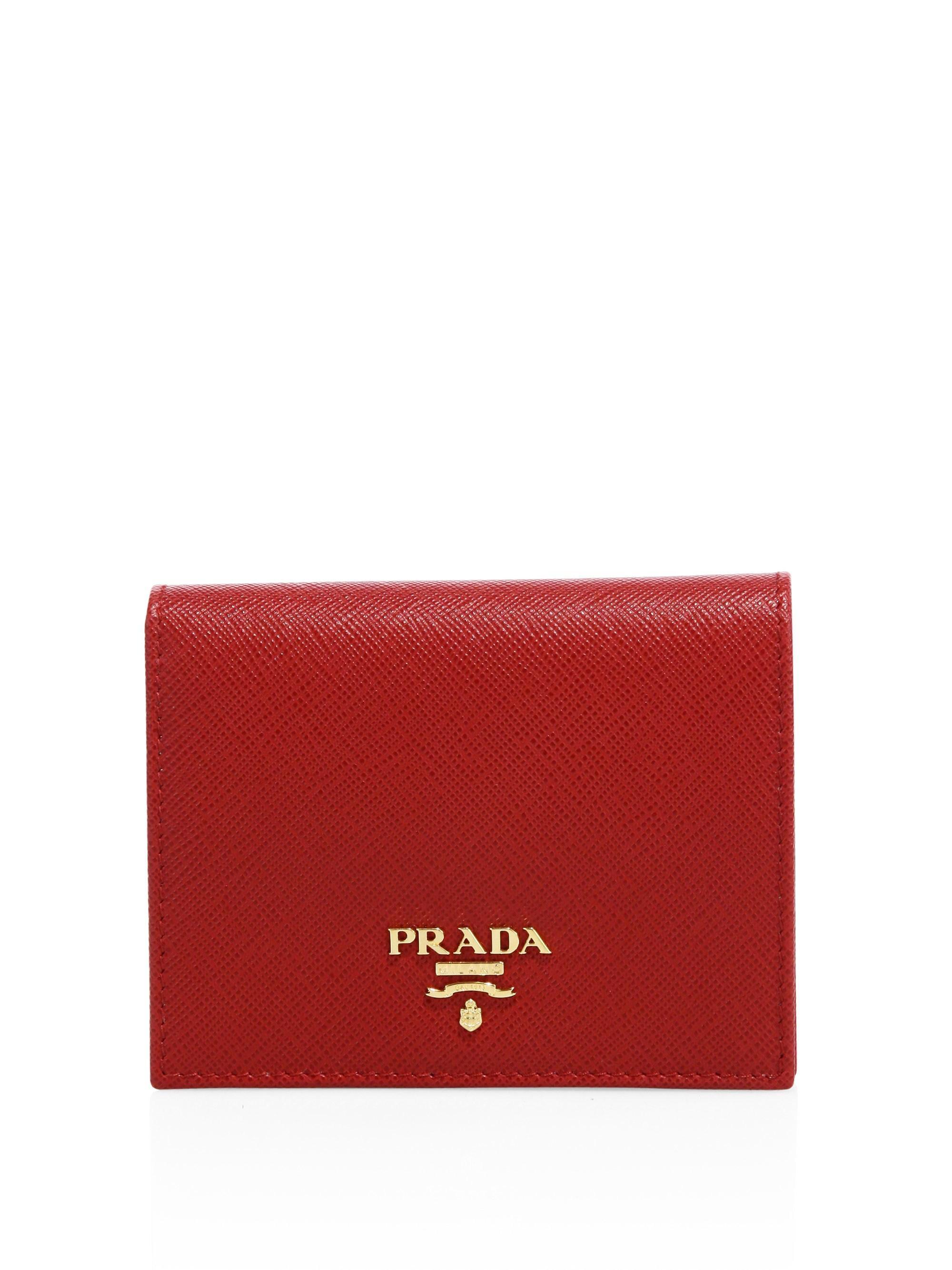 40c1f6466e833f Prada Women's Mini Saffiano Leather Bifold Wallet - Black in Red - Lyst