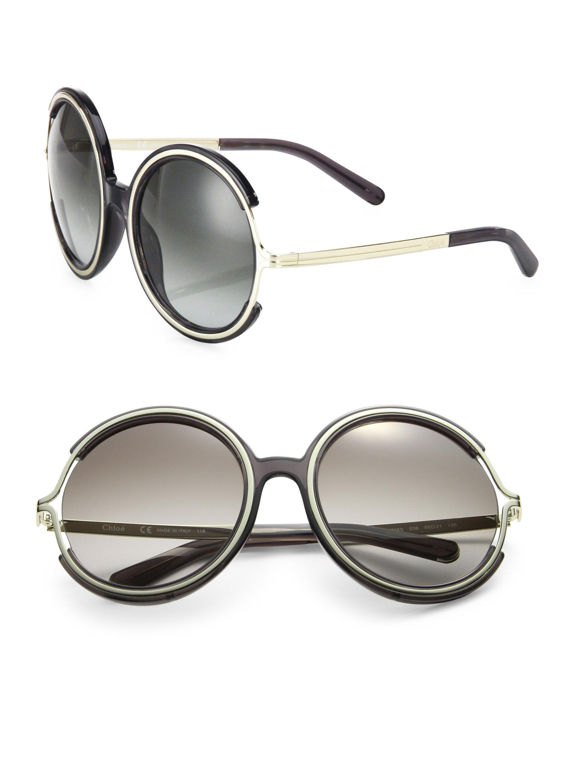 d6d0a9ba067 Chloé Jayme 58mm Round Sunglasses in Gray - Lyst