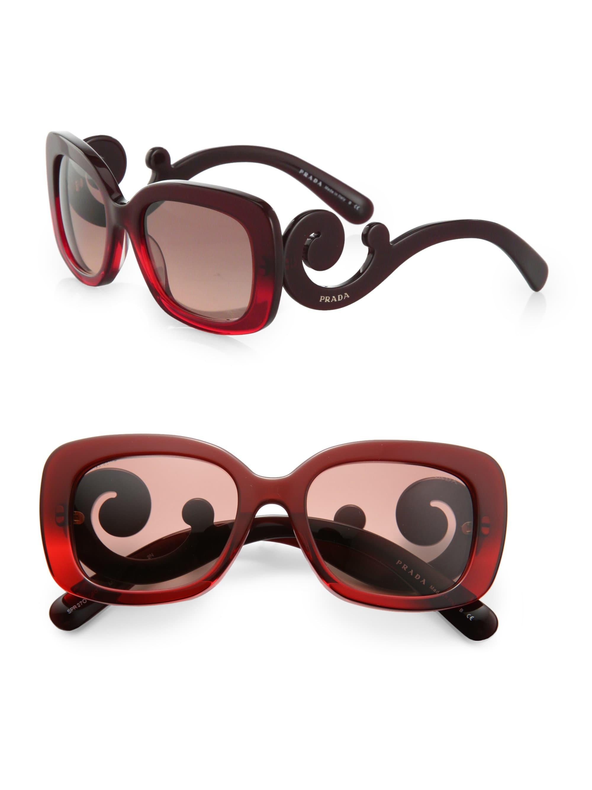 746a09e2d3 ... wholesale lyst prada baroque square sunglasses in red 46f4d 42e13
