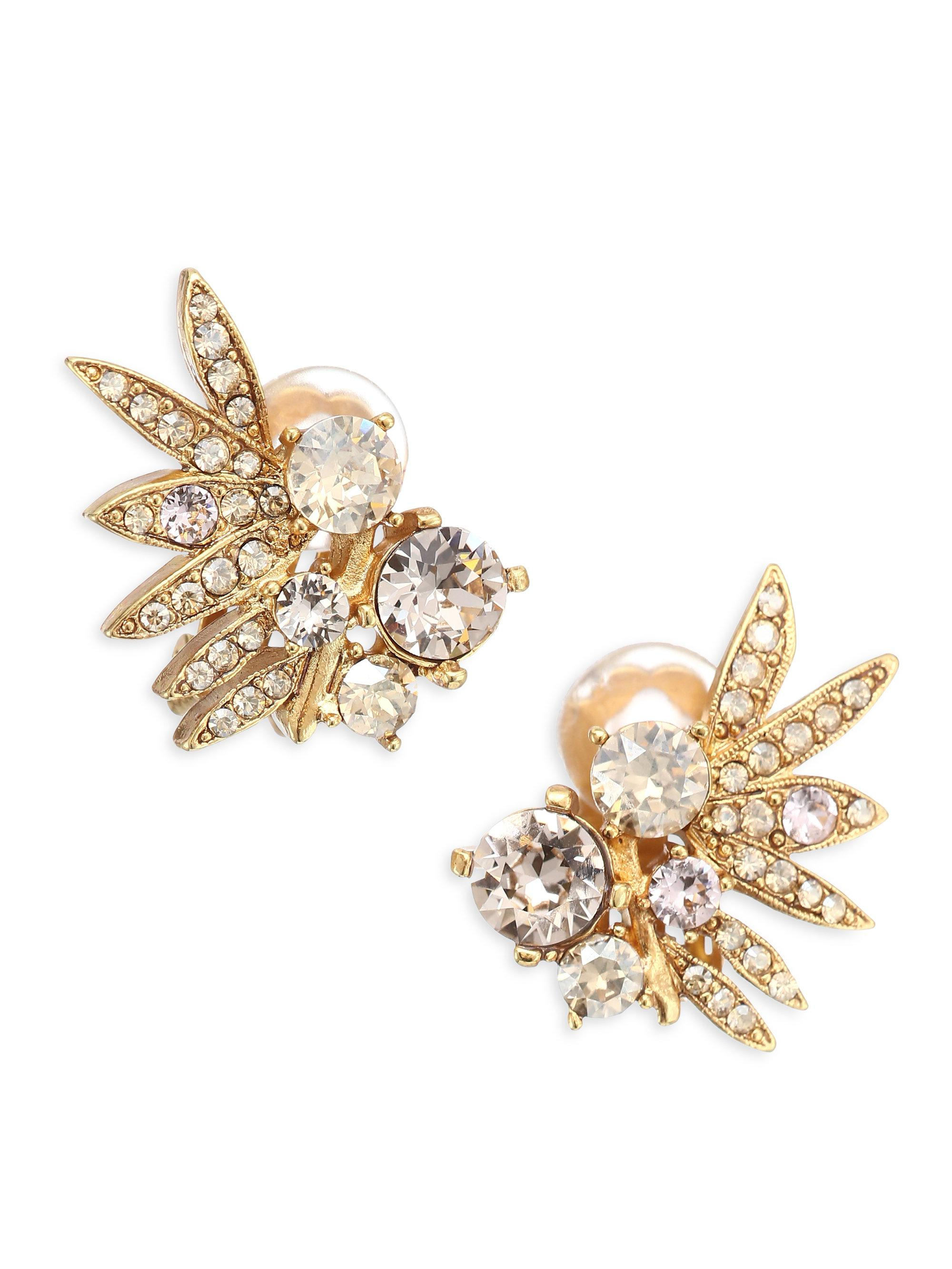 Oscar De La Renta Tropical Palm Crystal Clip-On Earrings Y33Um5UHz