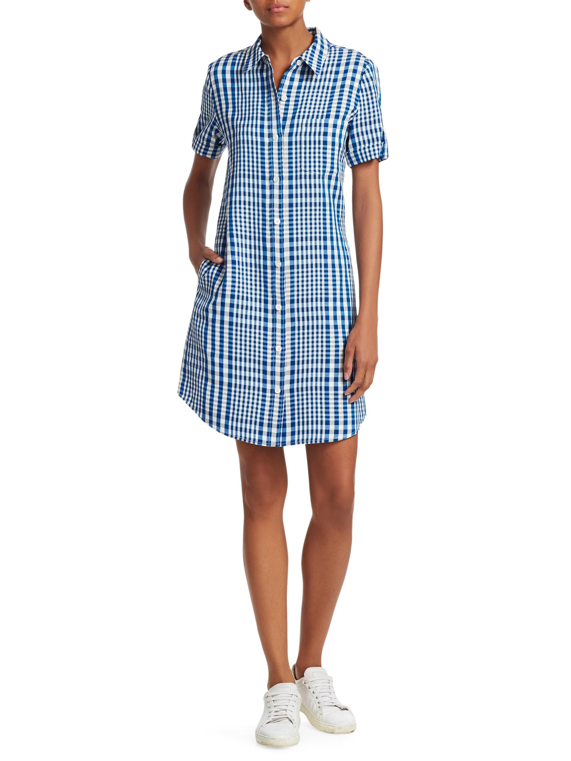 77ba9d8ed3 Theory Mayvine Check Shirtdress in Blue - Lyst