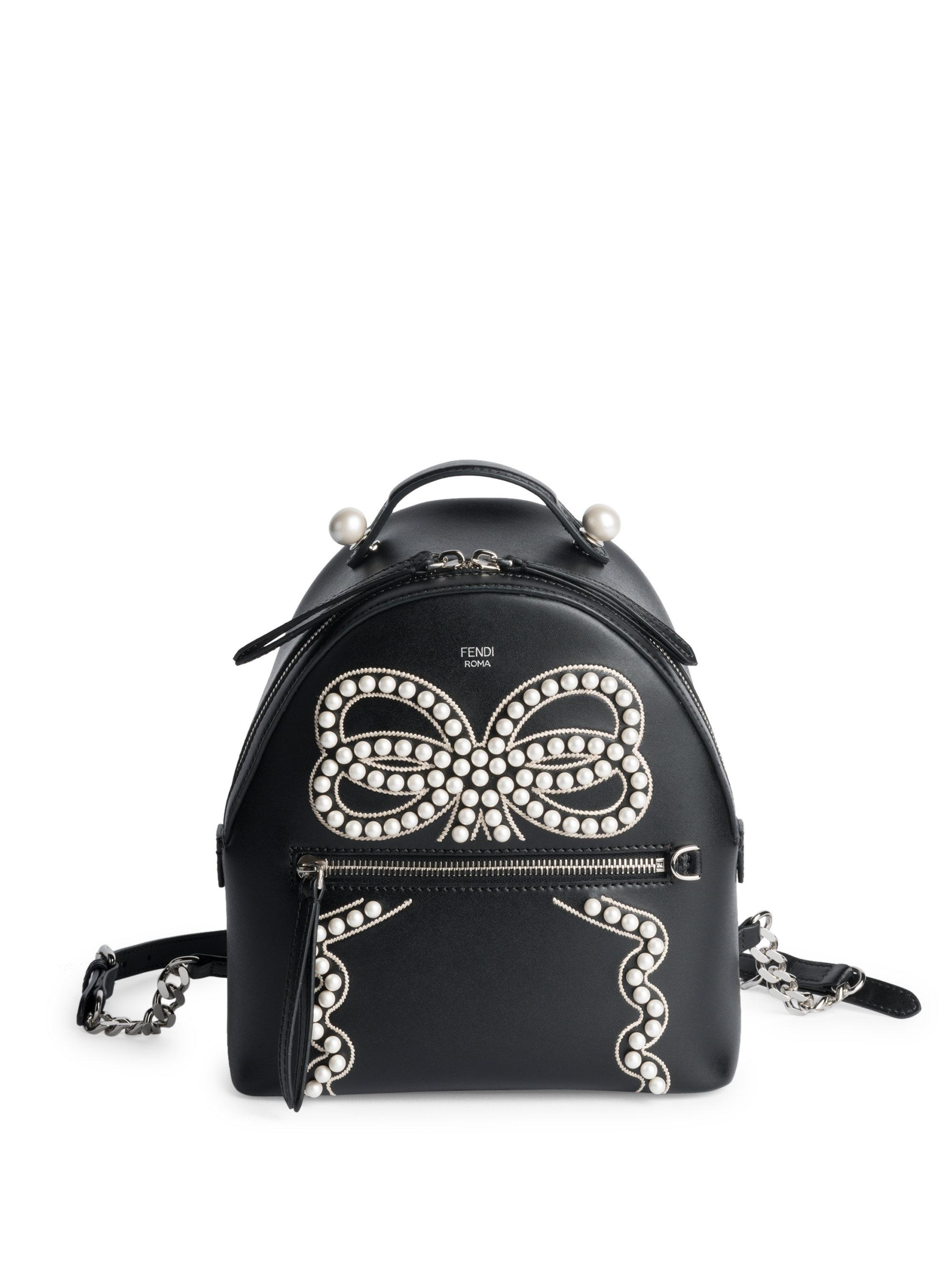 163641e98bce Lyst - Fendi Embroidered Mini Leather Backpack in Black