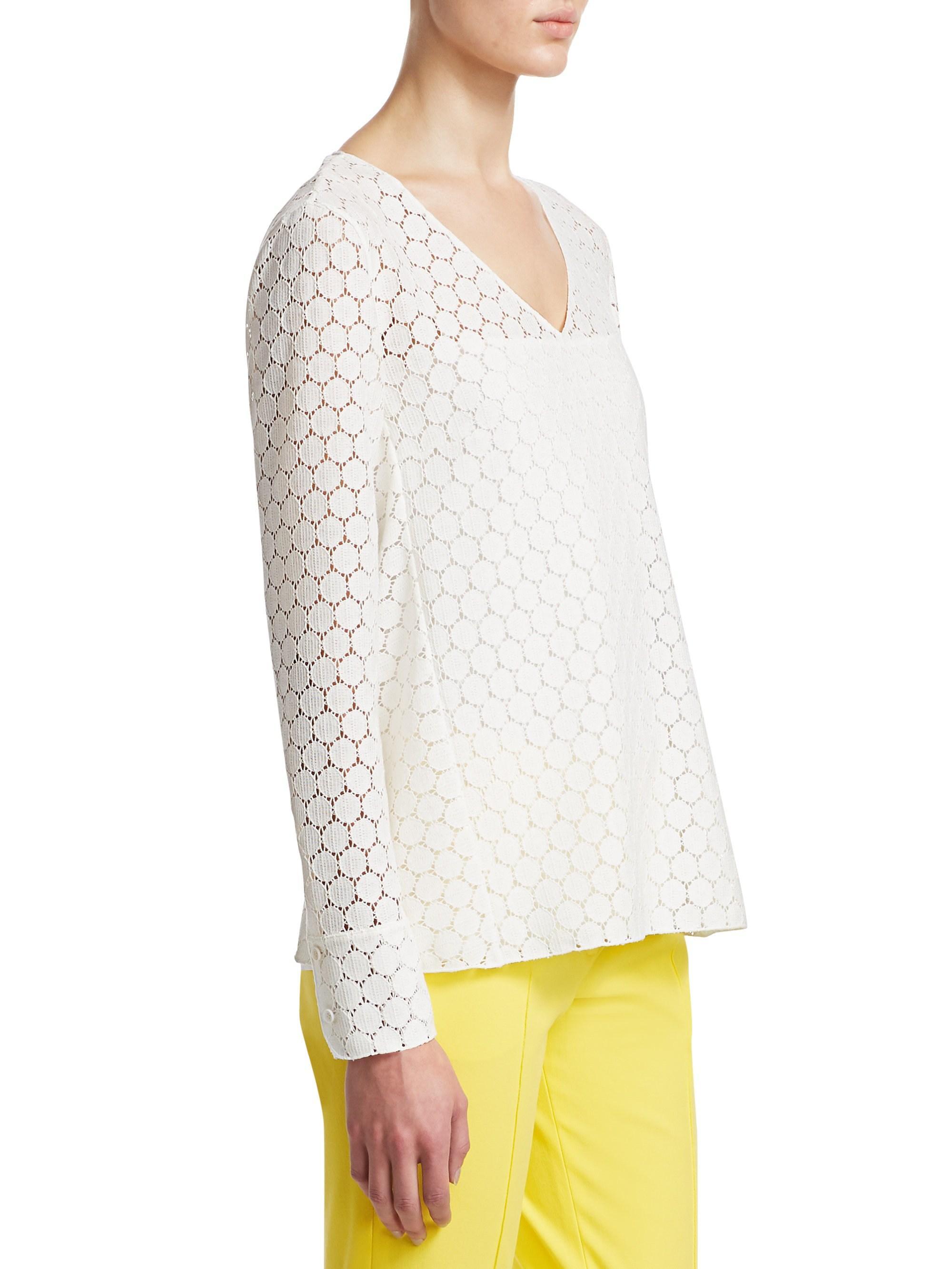 8ac557ba41311d Lyst - Akris Punto Women s Lace V-neck Blouse - Crema - Size 2 in White