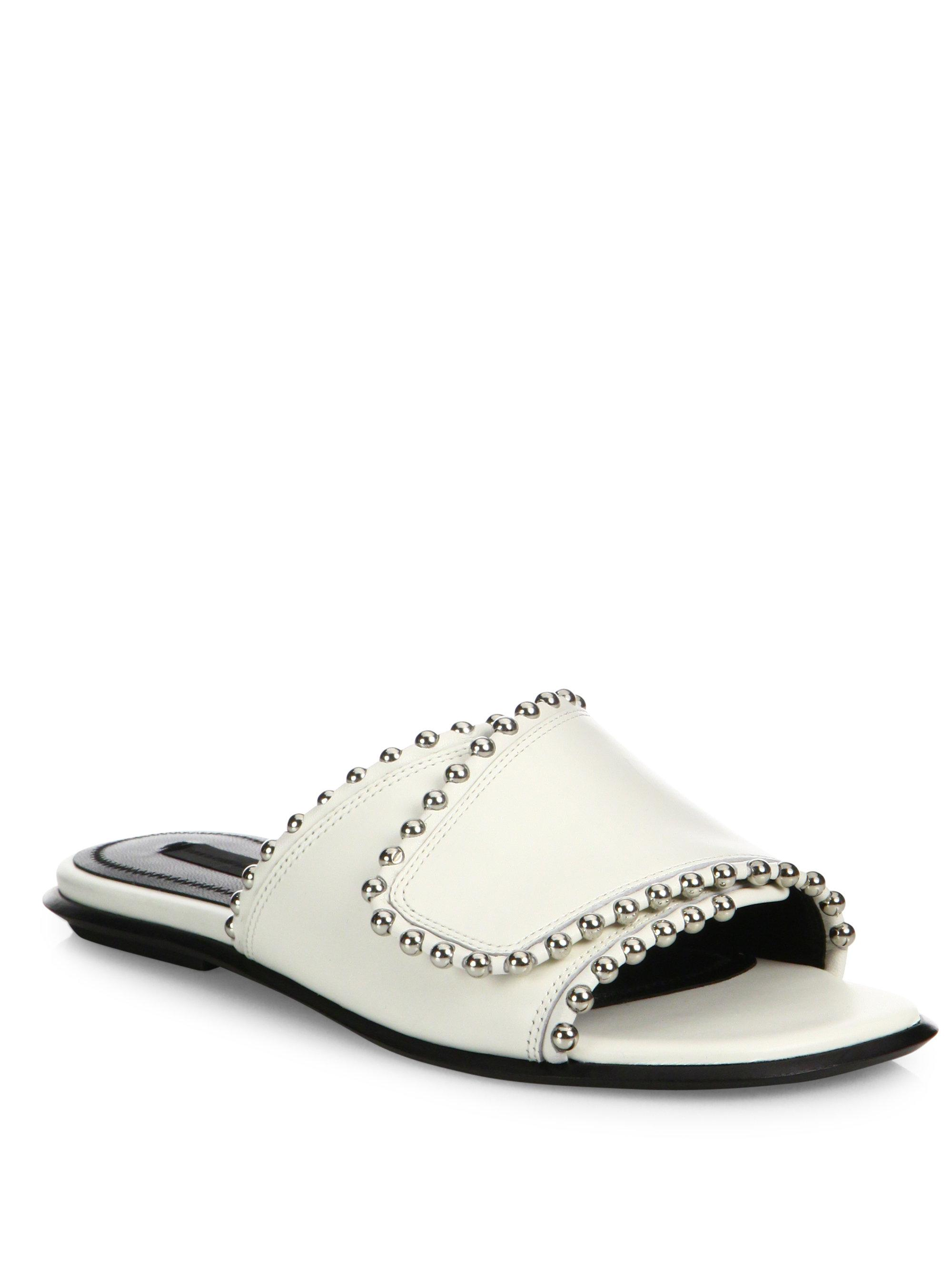 Alexander Wang. Women's White Leidy Studded Leather Slides
