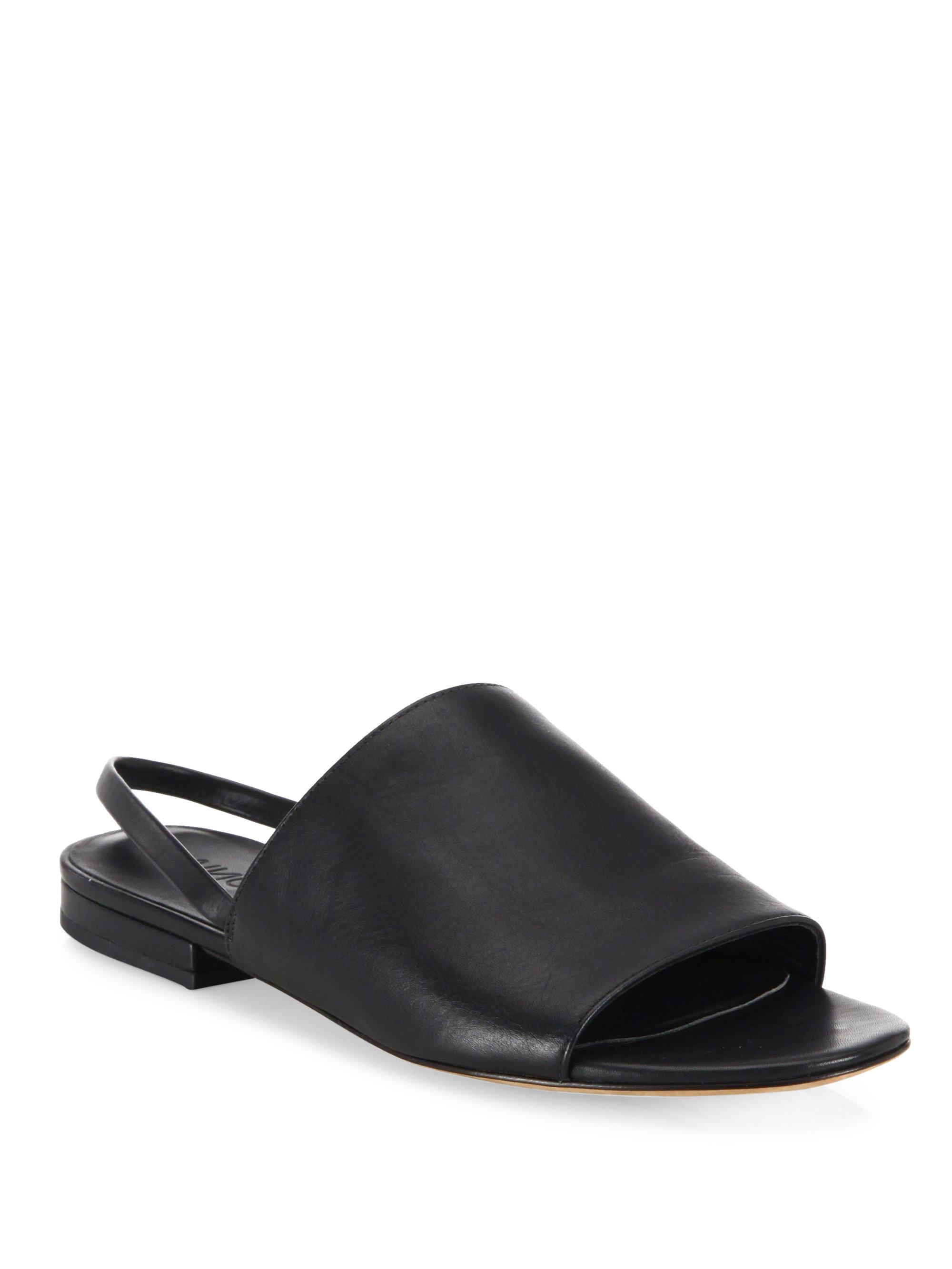 15ec7224357 Lyst - Vince Dawson Leather Flat Slingback Slides in Black