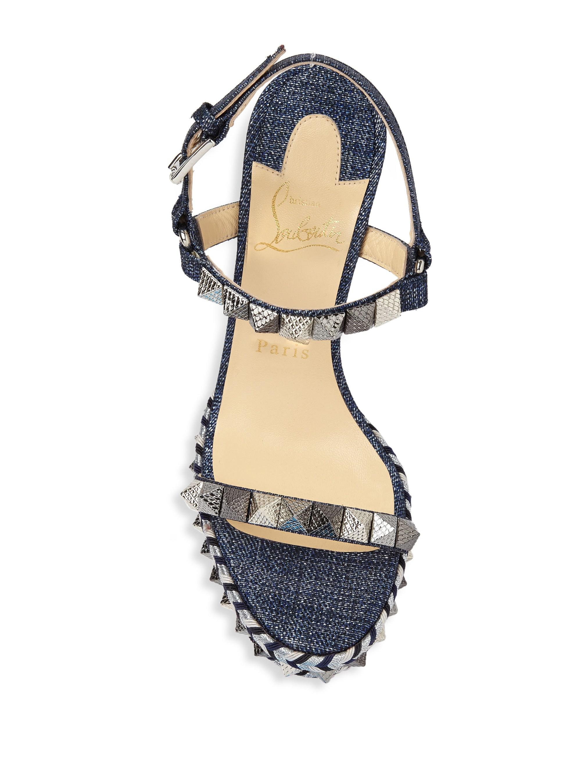 4b54a4e63def ... czech christian louboutin blue pyraclou 110 denim platform sandals lyst.  view fullscreen 178e9 a1192