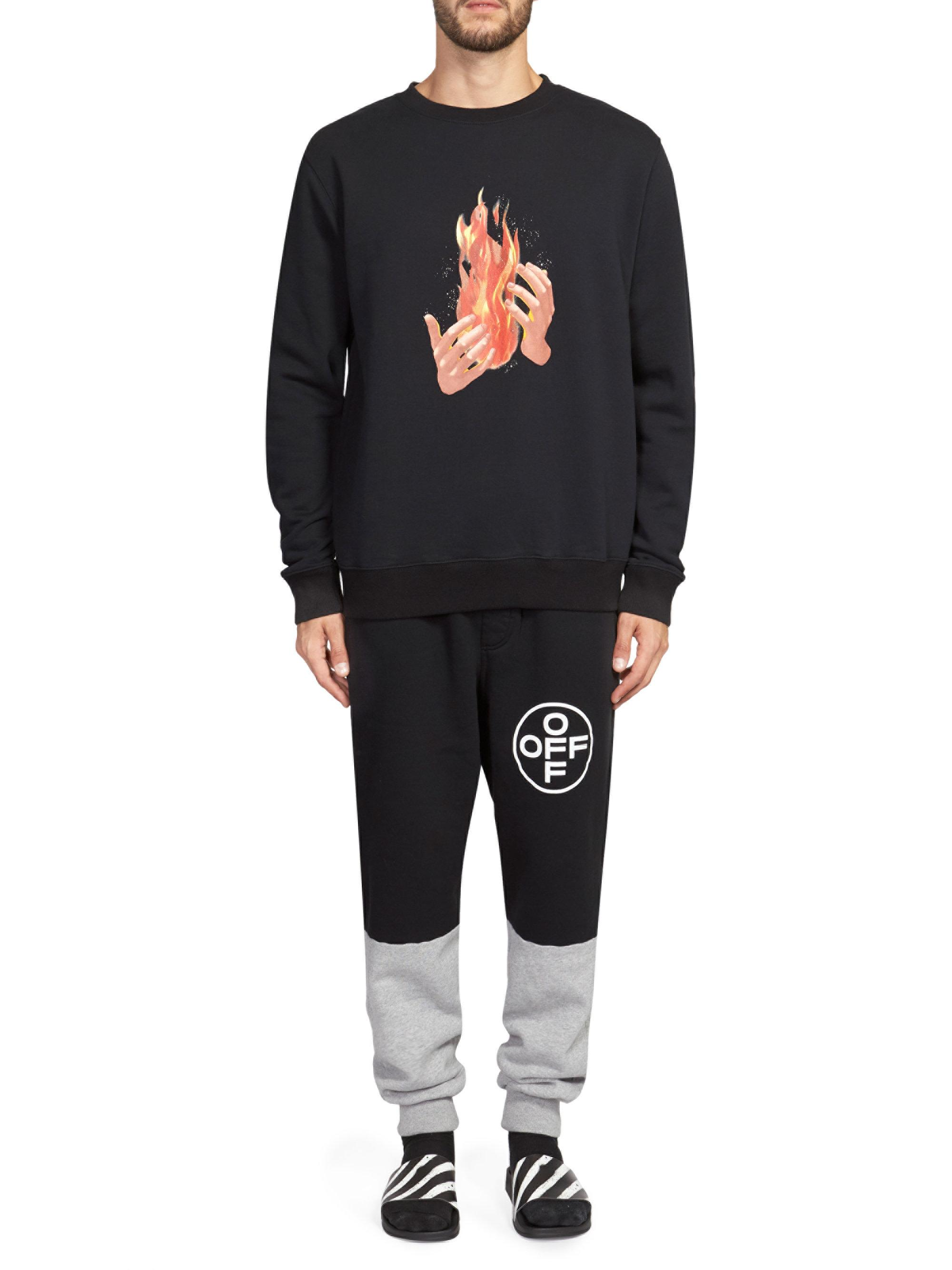9418b9af Off-White c/o Virgil Abloh Diagonal Stripe And Fire Pullover in ...