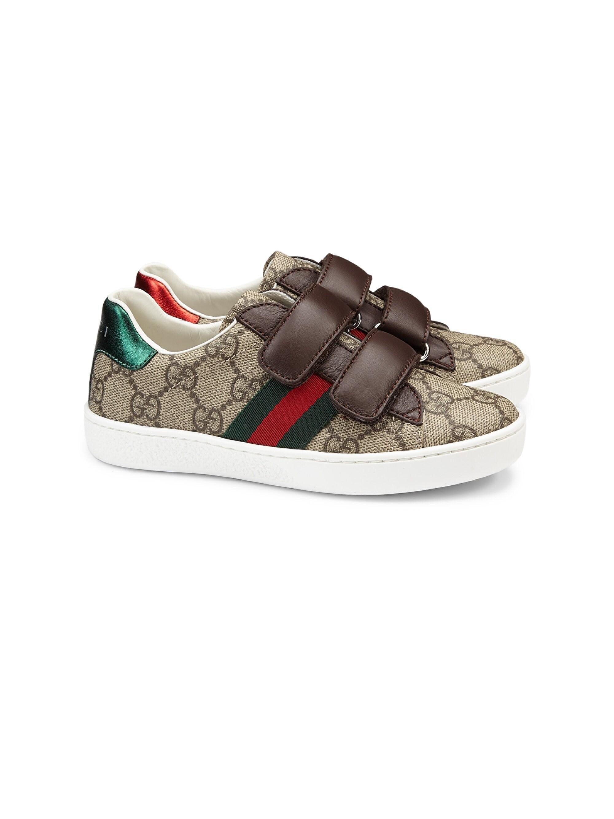 e72067cf413 Gucci. Women s Kid s GG Supreme Canvas Strap Shoes