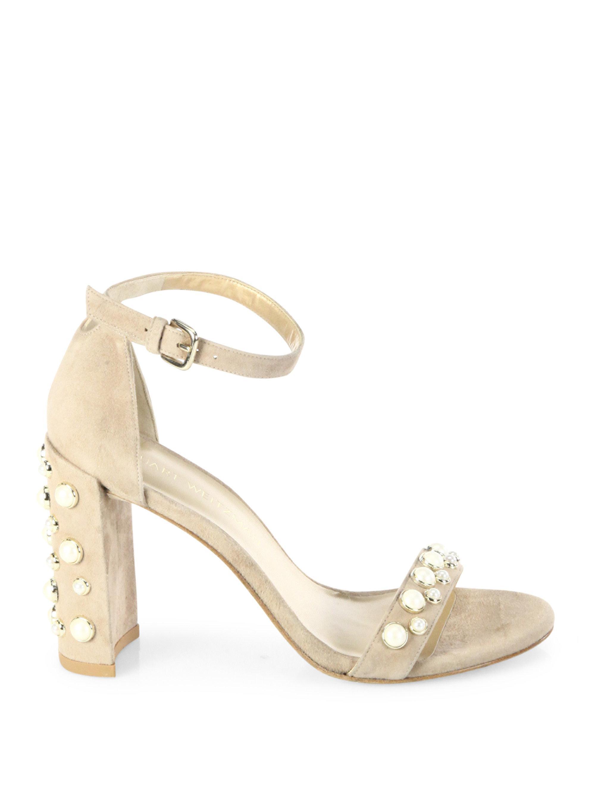 cdb3a9fb2adb Lyst - Stuart Weitzman Morepearls Studded Suede Block Heel Sandals ...