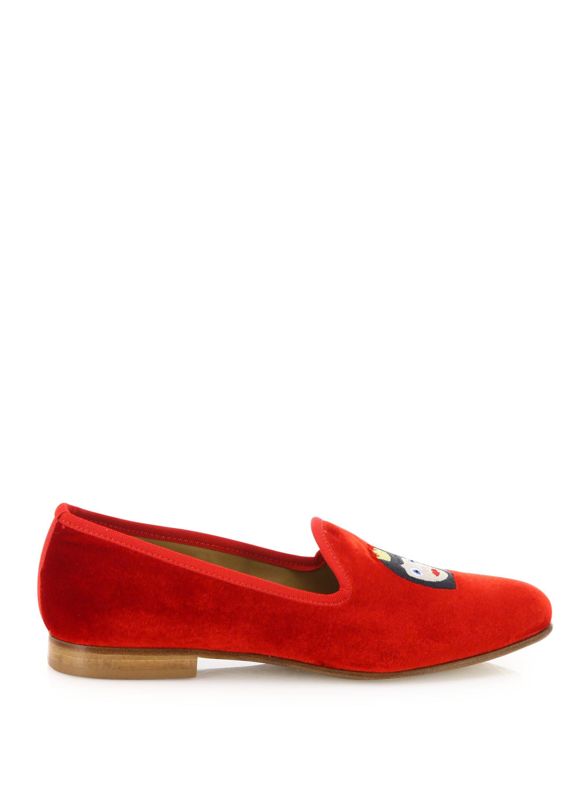 Del Toro - Red Queen Bee Velvet Smoking Loafers - Lyst. View fullscreen