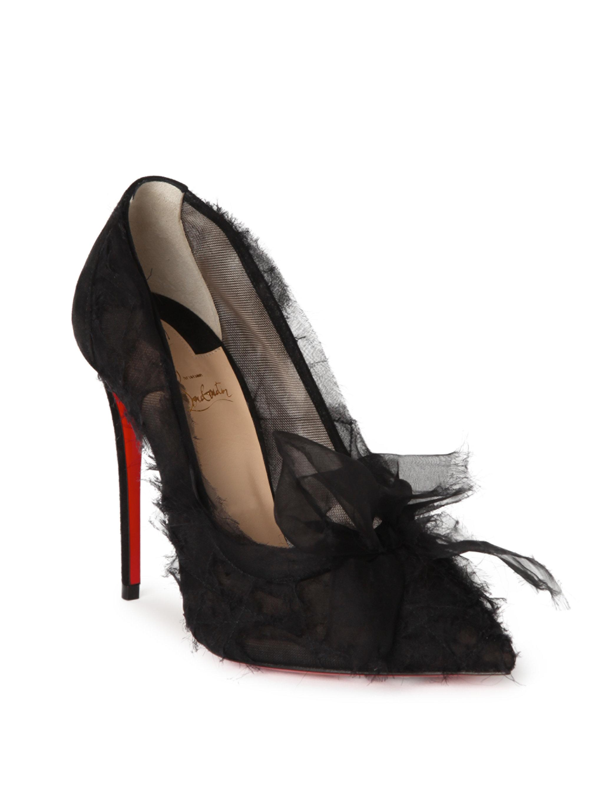 Christian Louboutin Pleated Chiffon Platform Pumps cheapest price sale online free shipping finishline outlet with mastercard UR2tco5q