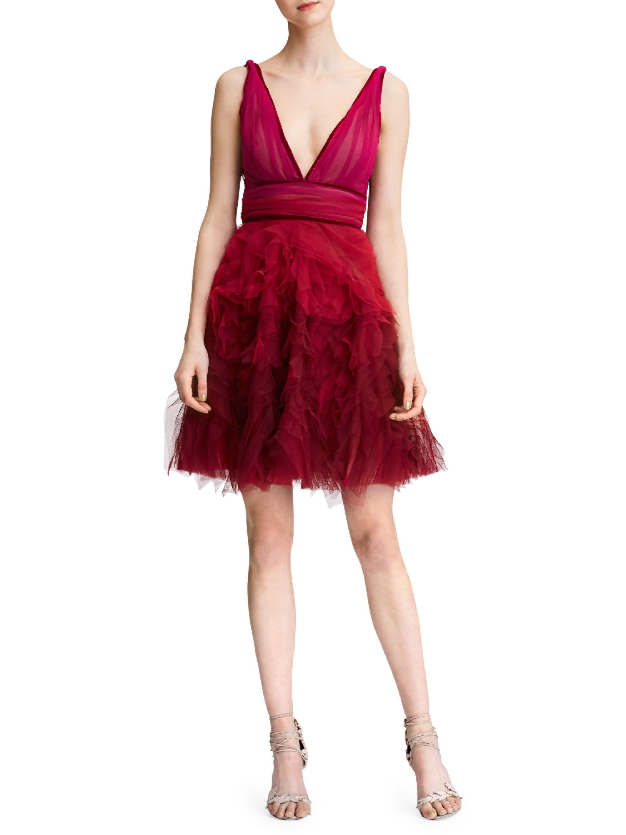 a99bf98ade Marchesa notte Fit-&-flare Tulle Cocktail Dress in Red - Lyst