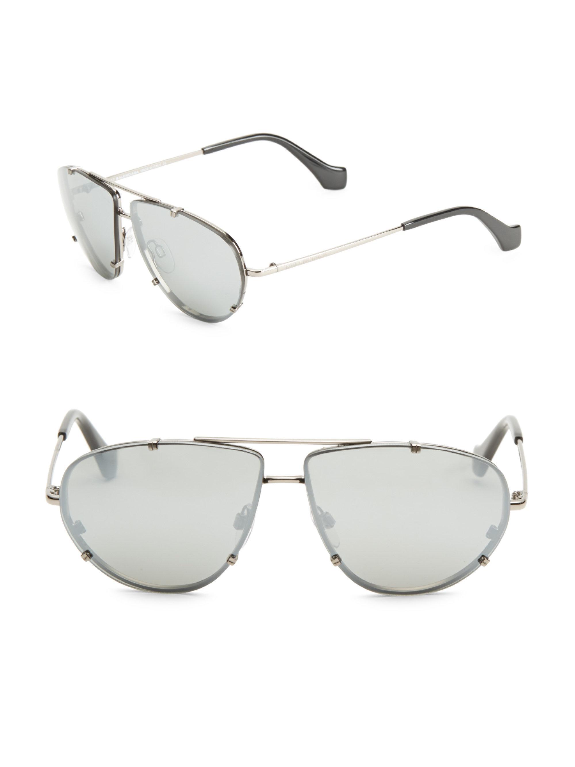 5f40ffe863d Balenciaga 62mm Mirrored Aviator Sunglasses in Metallic for Men - Lyst