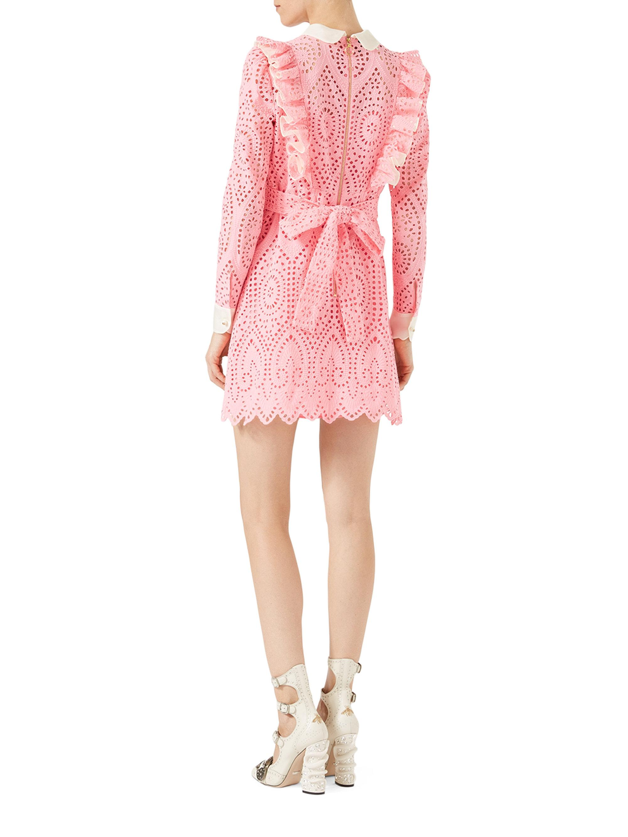 dc61566ffac Gucci Broderie Anglaise Cotton Dress in Pink - Lyst
