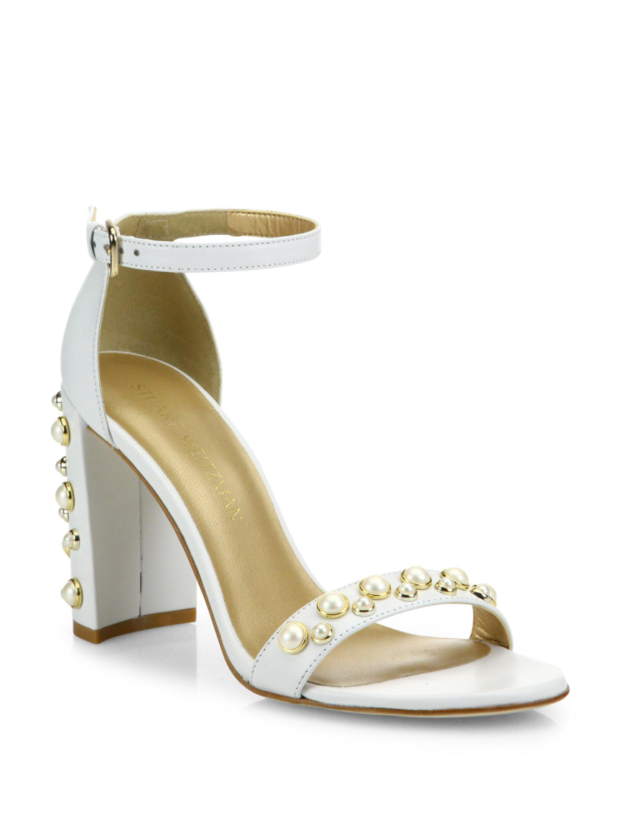 da1a1b86c3d Lyst - Stuart Weitzman Morepearls Studded Leather Ankle Strap ...