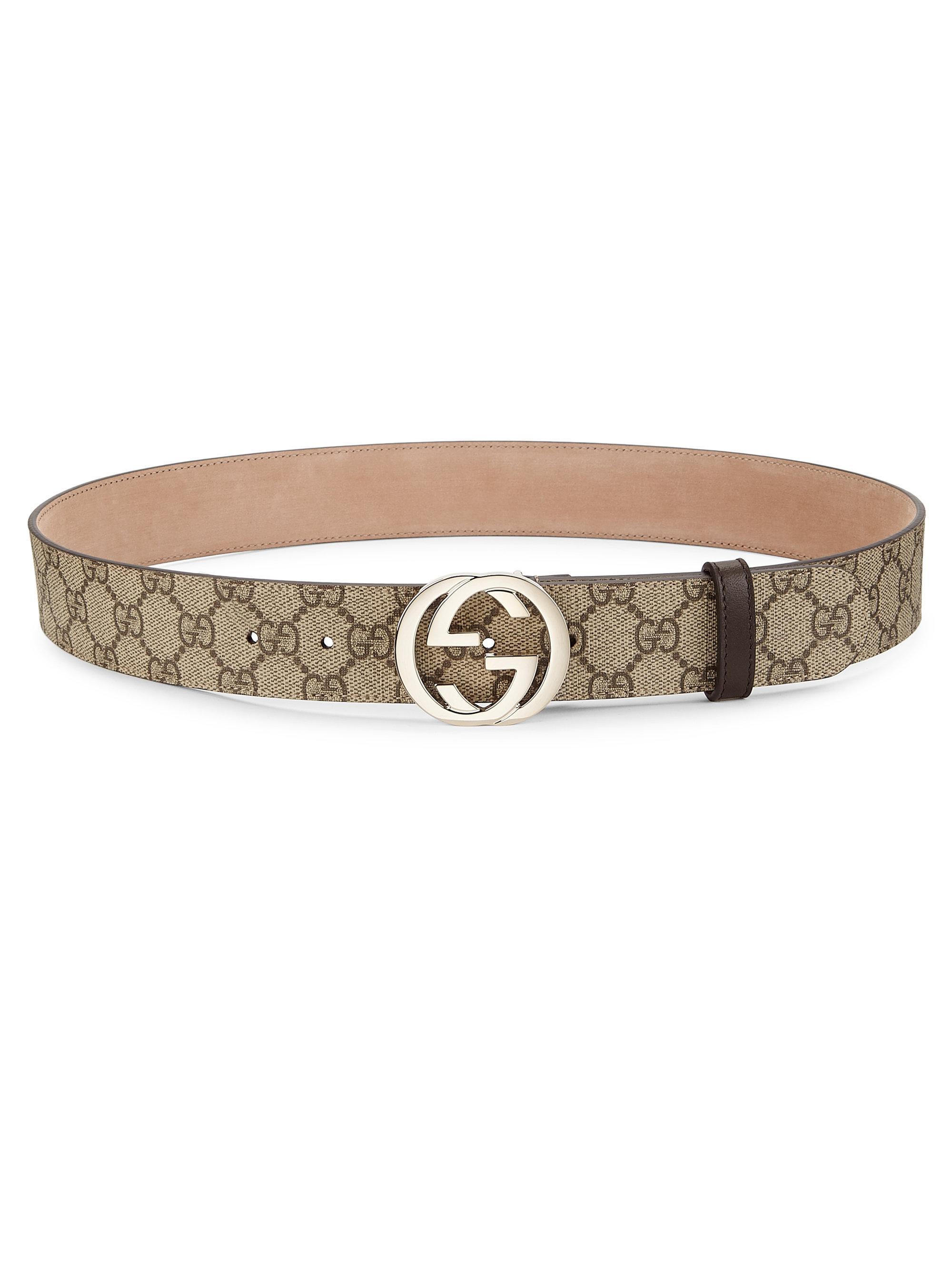 f7c96dcf5277 Gucci Interlocking G Logo Belt in Natural - Lyst
