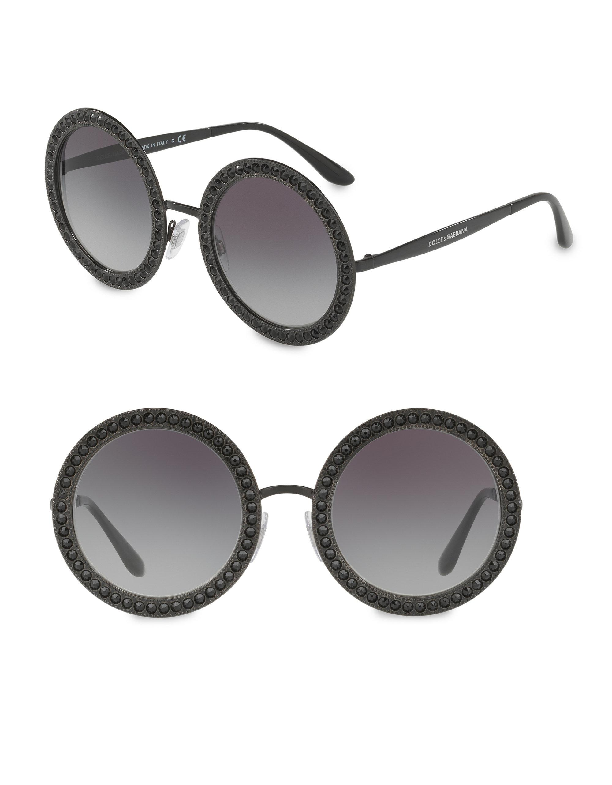 3a65f9d360b9 Sunglasses amp; Lyst 51mm In Round Crystal Trim Dolce Gabbana Black AUU7w1