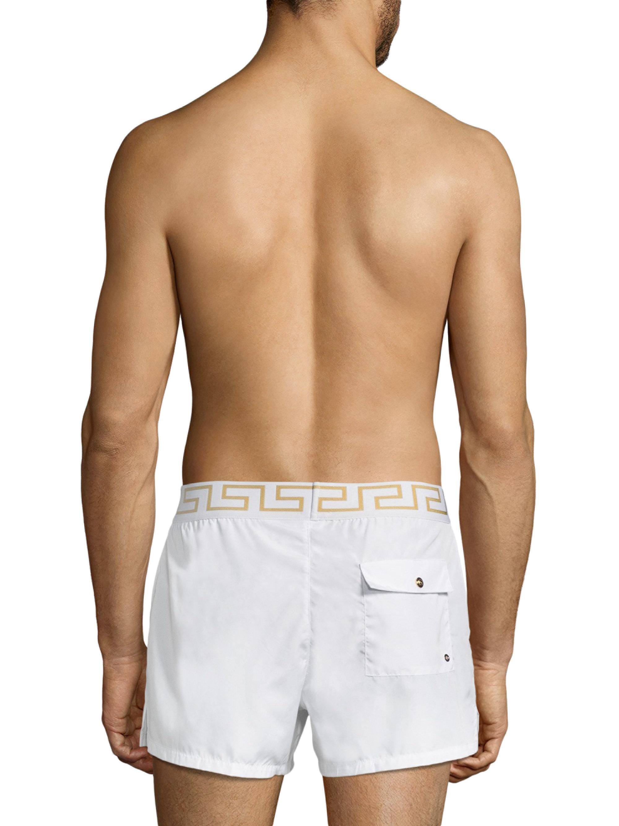 6417192112 Versace Swim Shorts in White for Men - Lyst