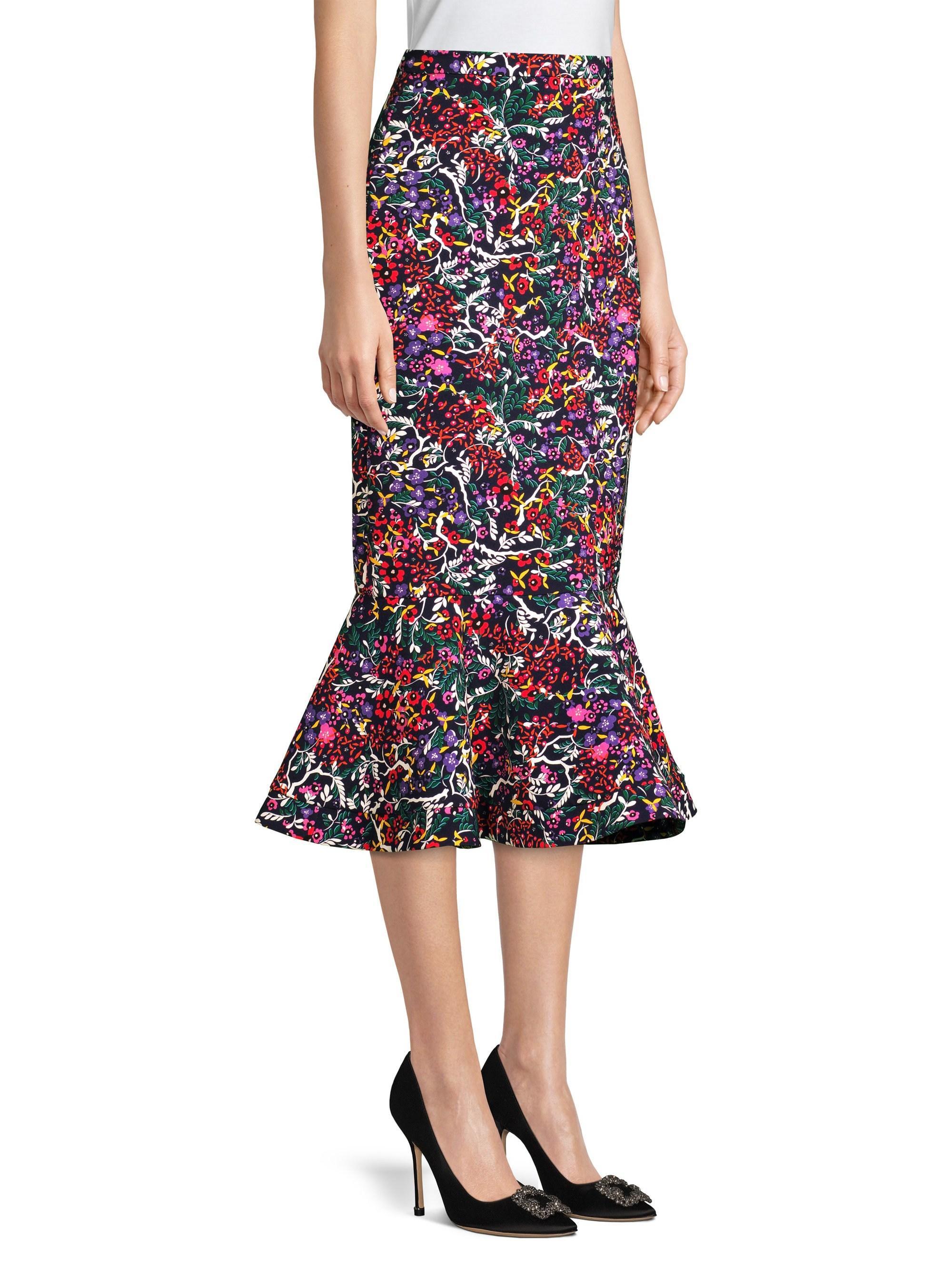 320387eb2d Saloni Portia Floral Midi Skirt - Lyst