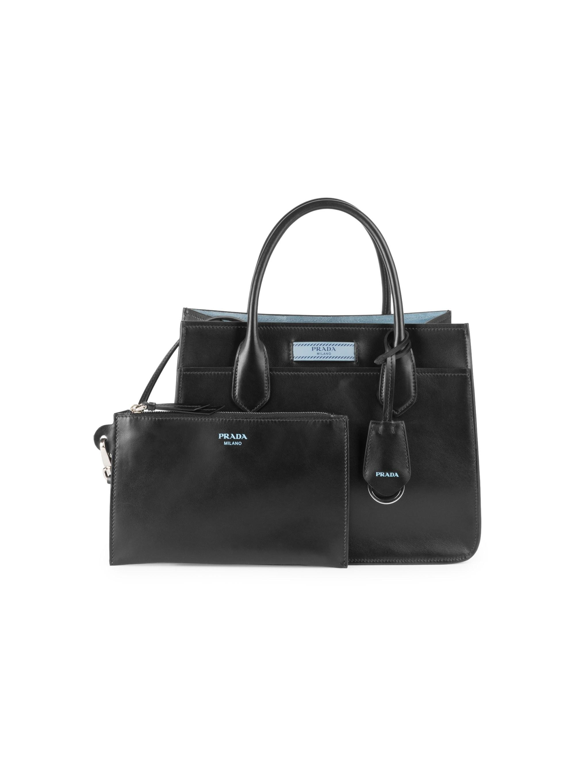 9f29913001a3 Lyst - Prada Small Leather Dual Tote in Black