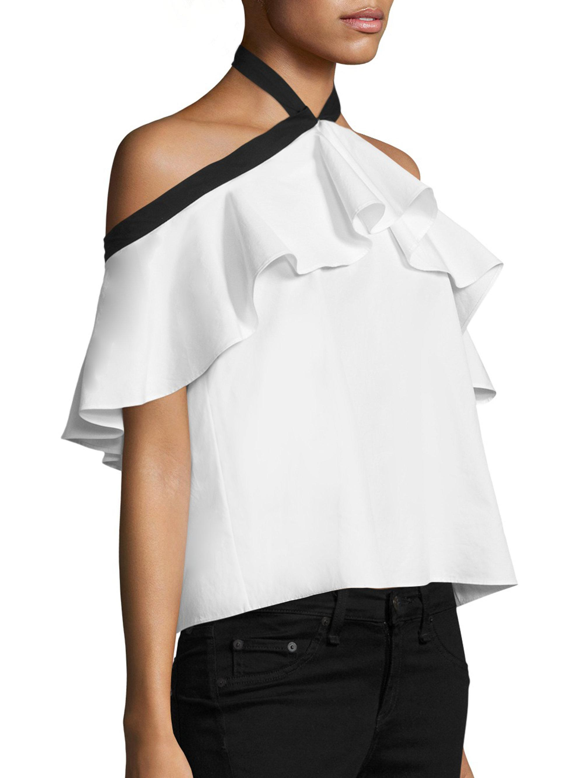 b2f756aa340 Alice + Olivia Alyssa Off-the-shoulder Halter Top in White - Lyst