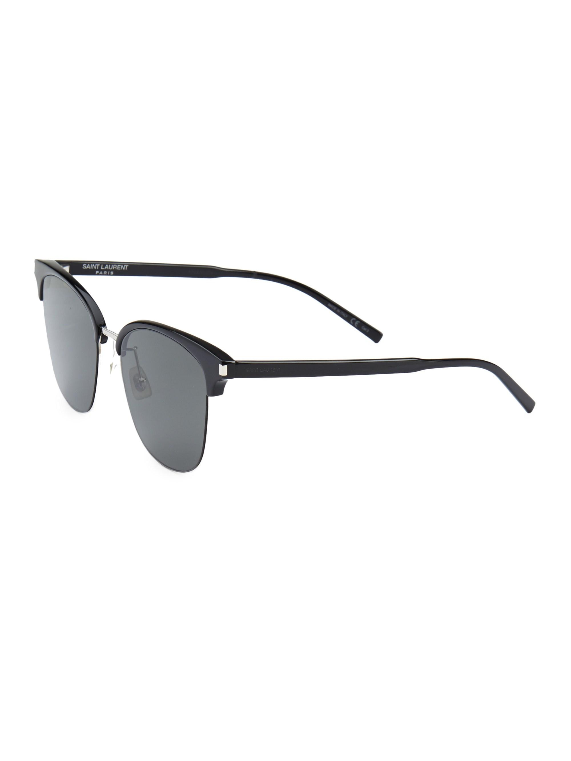 839b142734 Saint Laurent - Men s 57mm Clubmaster Sunglasses - Black Silver for Men -  Lyst. View fullscreen