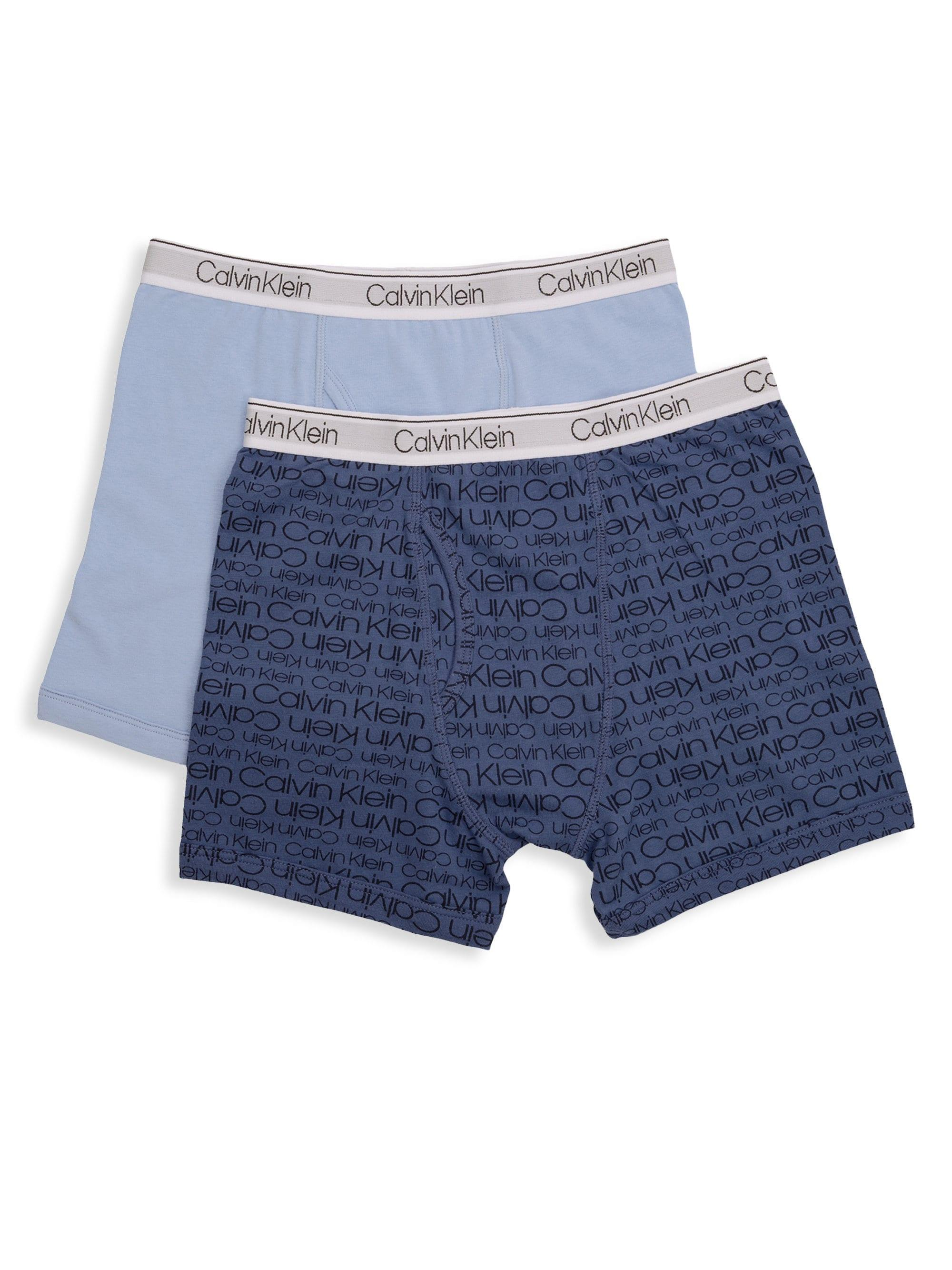 Calvin Klein - Blue Little Boy s   Boy s Two-pack Logo Boxer Briefs for  Men. View fullscreen d64c8bee60a