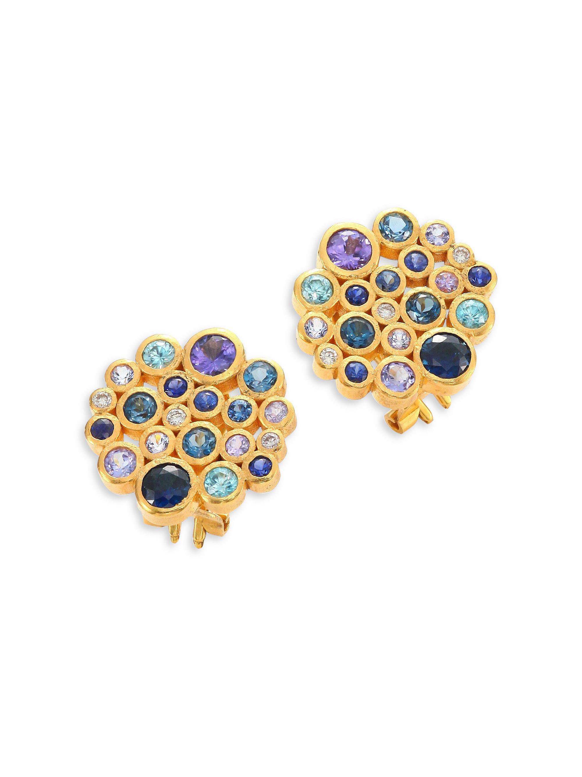 Gurhan Pointelle Open Green Stone Drop Earrings voBT4