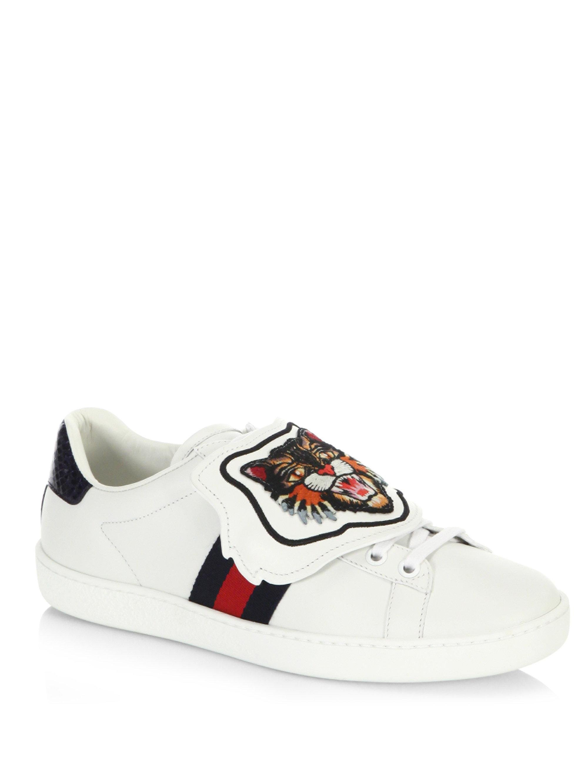 37fbf3e9b Gucci New Ace Lion Patch Sneakers in White - Lyst