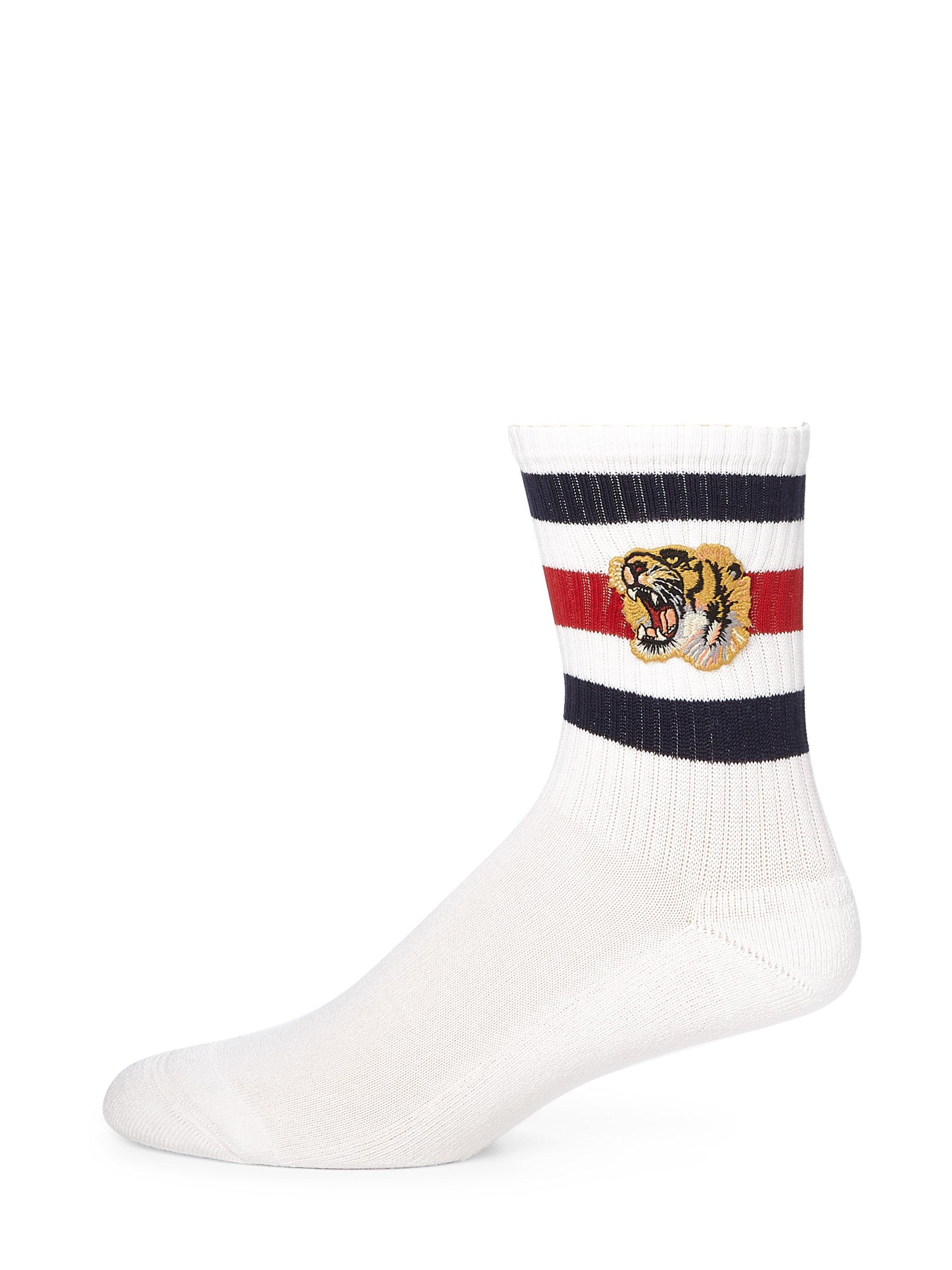 Lyst Gucci Little Tiger Striped Socks In Blue For Men