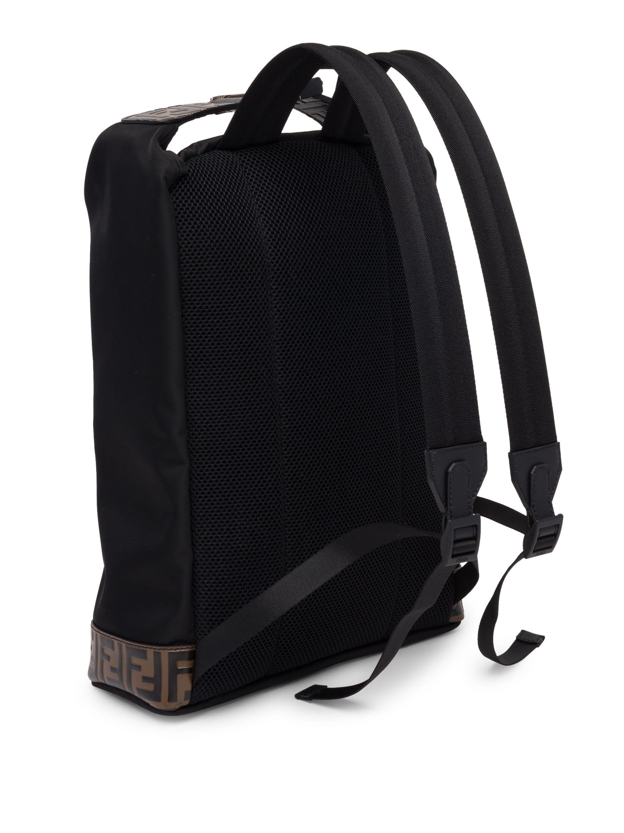 bb3b3d60f01a Fendi Ff Embossed Nylon Backpack Tote in Black for Men - Lyst
