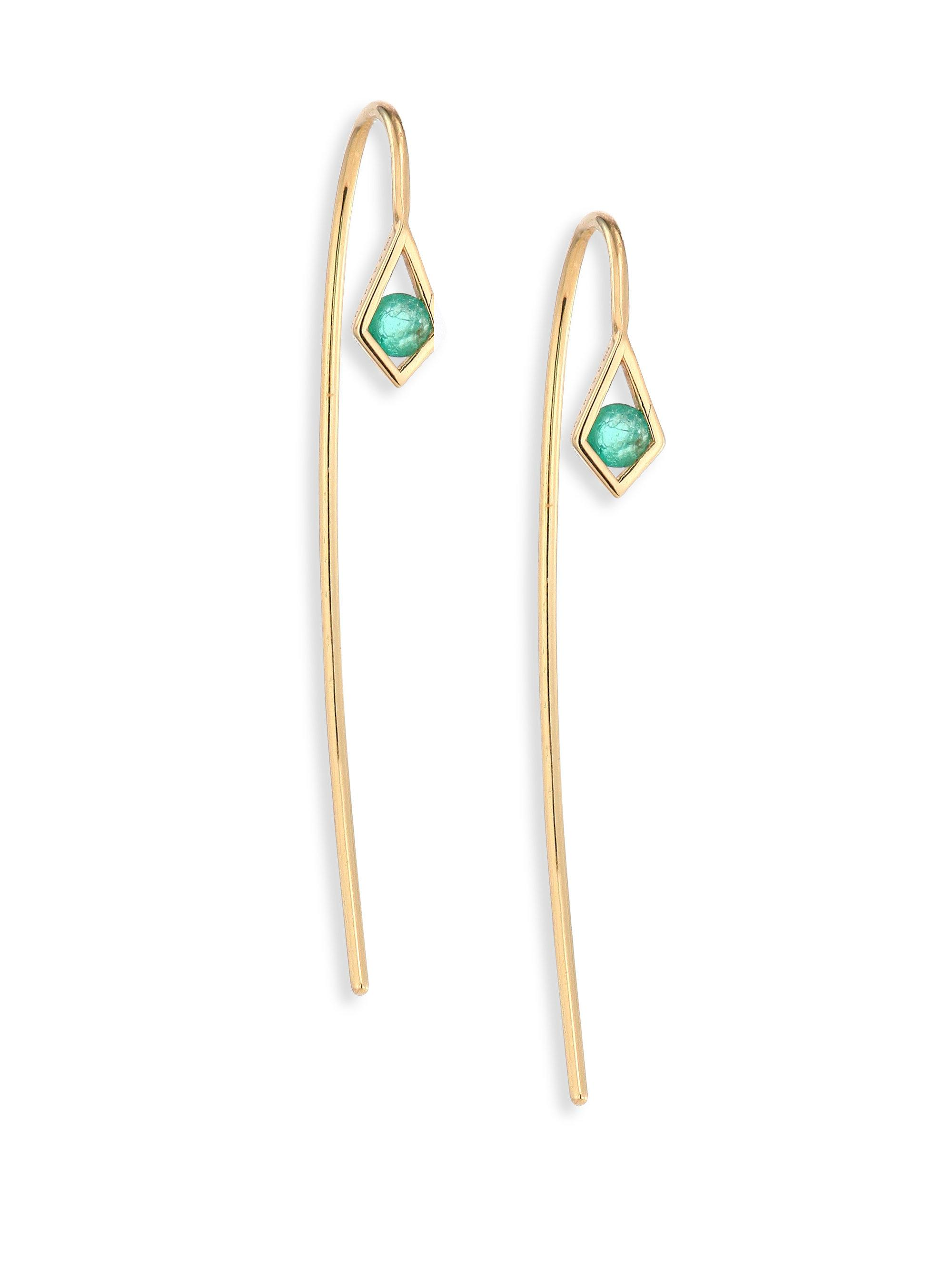 Ron Hami 14k Turquoise & Diamond Threader Earrings qXxMp