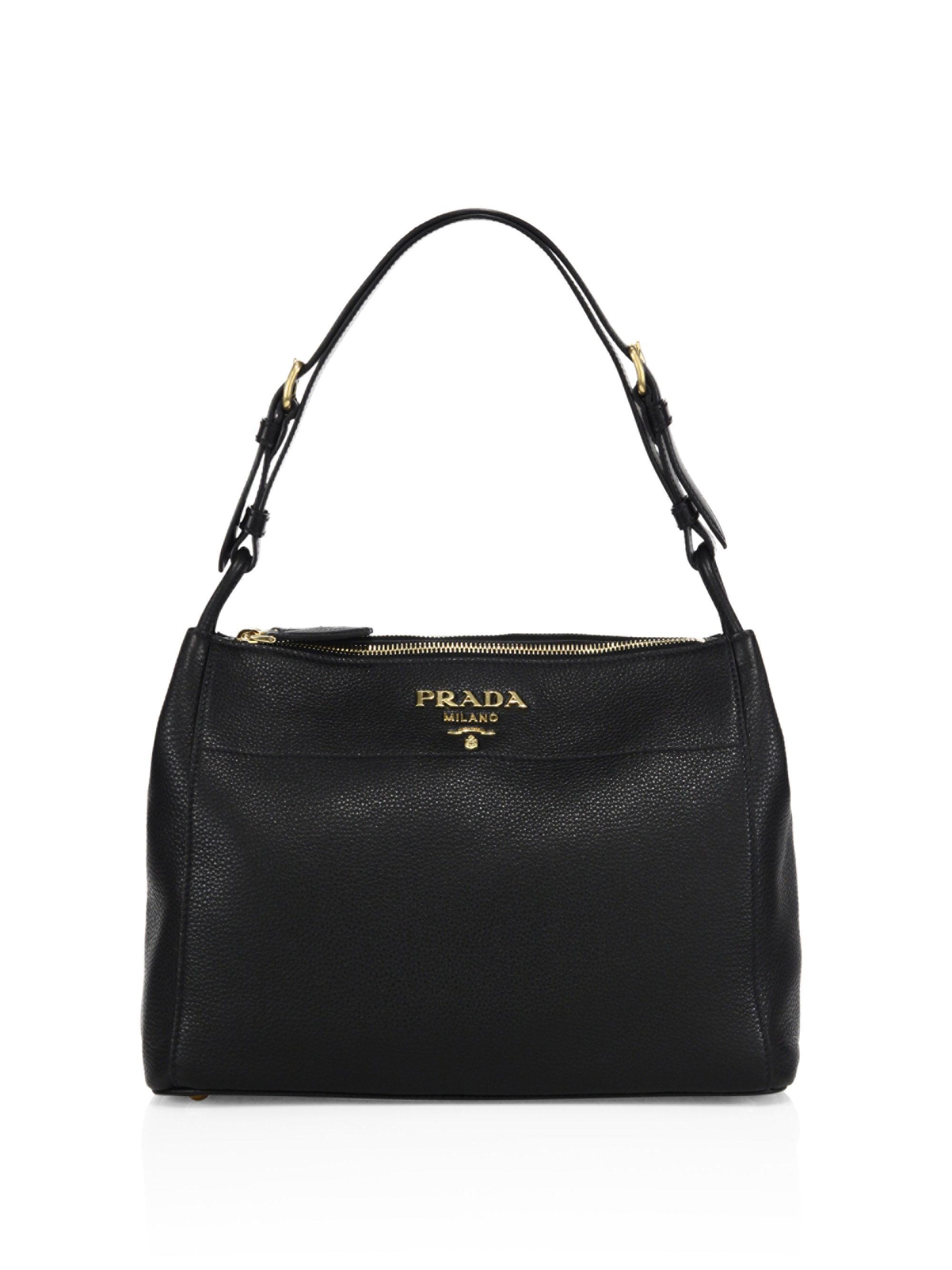 986c21e0aeb9 Lyst - Prada Pebble Leather Shoulder Bag in Black