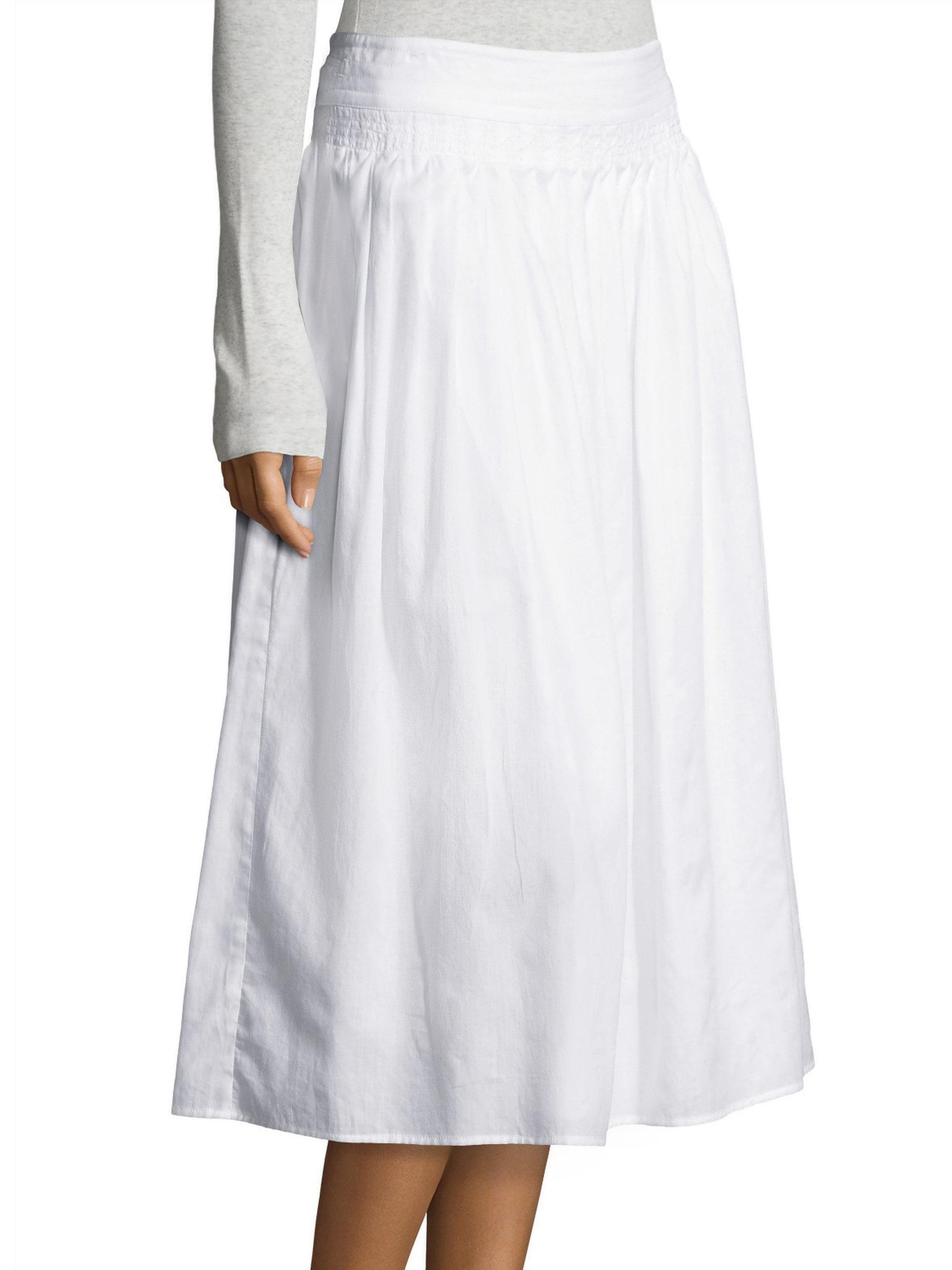 a177de5d09 Vince Stitch Pleated Wrap Skirt in White - Lyst