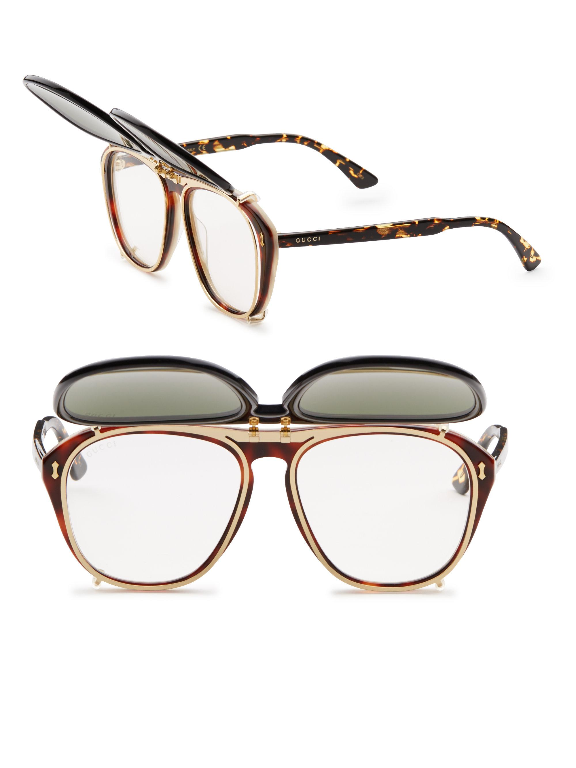 5cd3015fbe1 Lyst - Gucci 56mm Clip-on Frame Sunglasses for Men