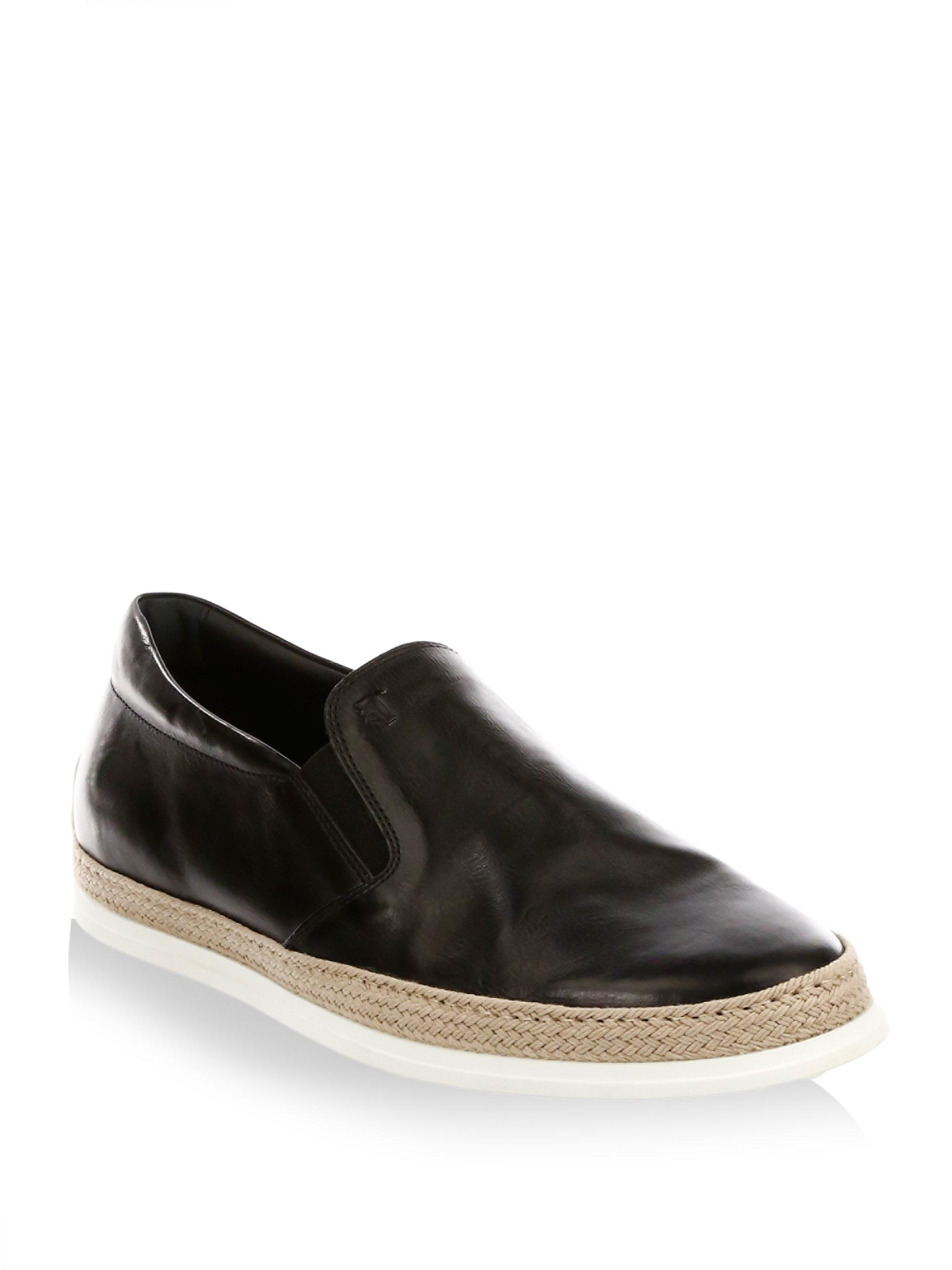 Tod's. Women's Black Leather Slip-on Espadrille Sneakers