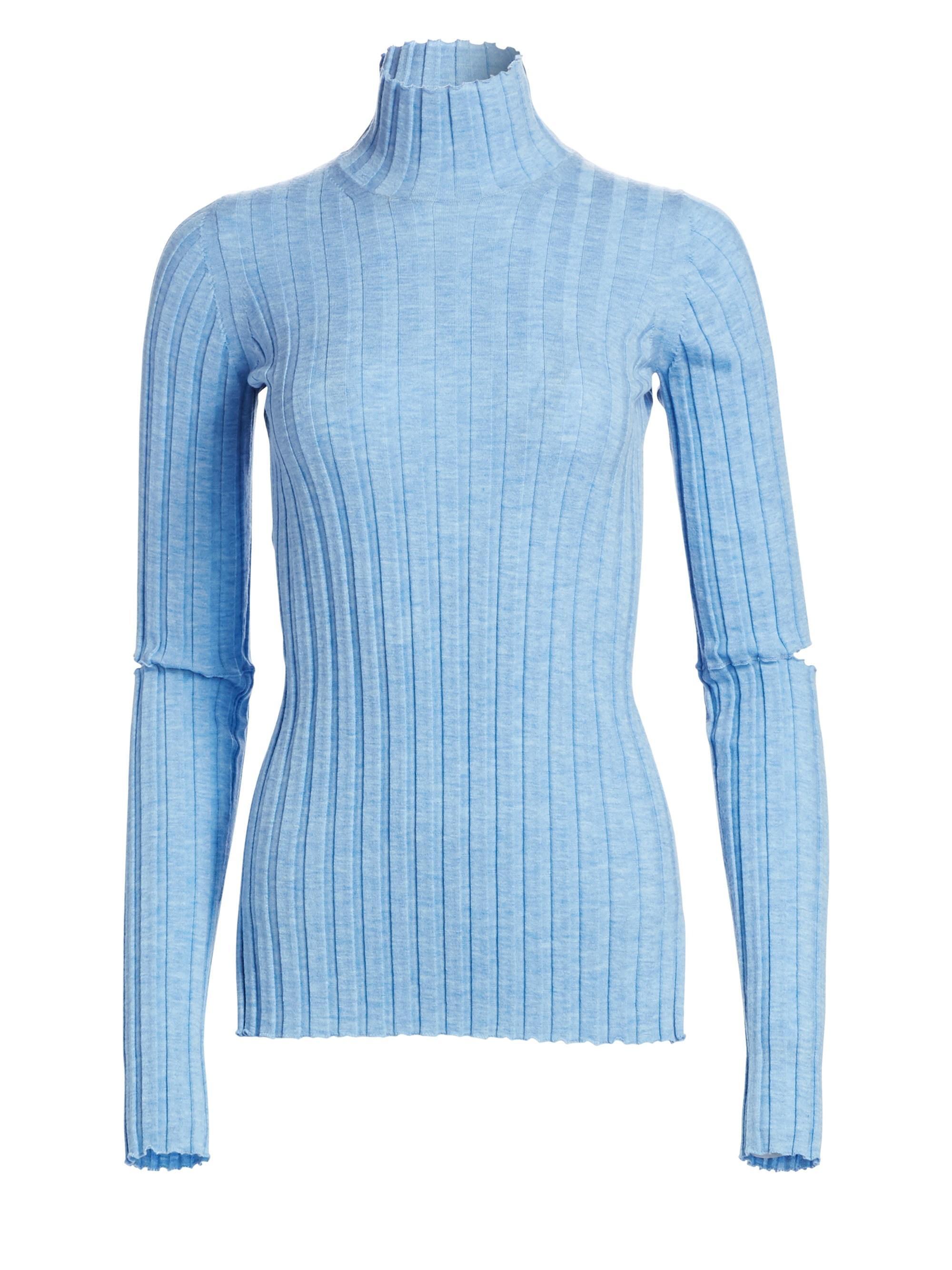 d7161f3c8 Helmut Lang Women s Wool Slash Turtleneck Sweater - Light Blue ...