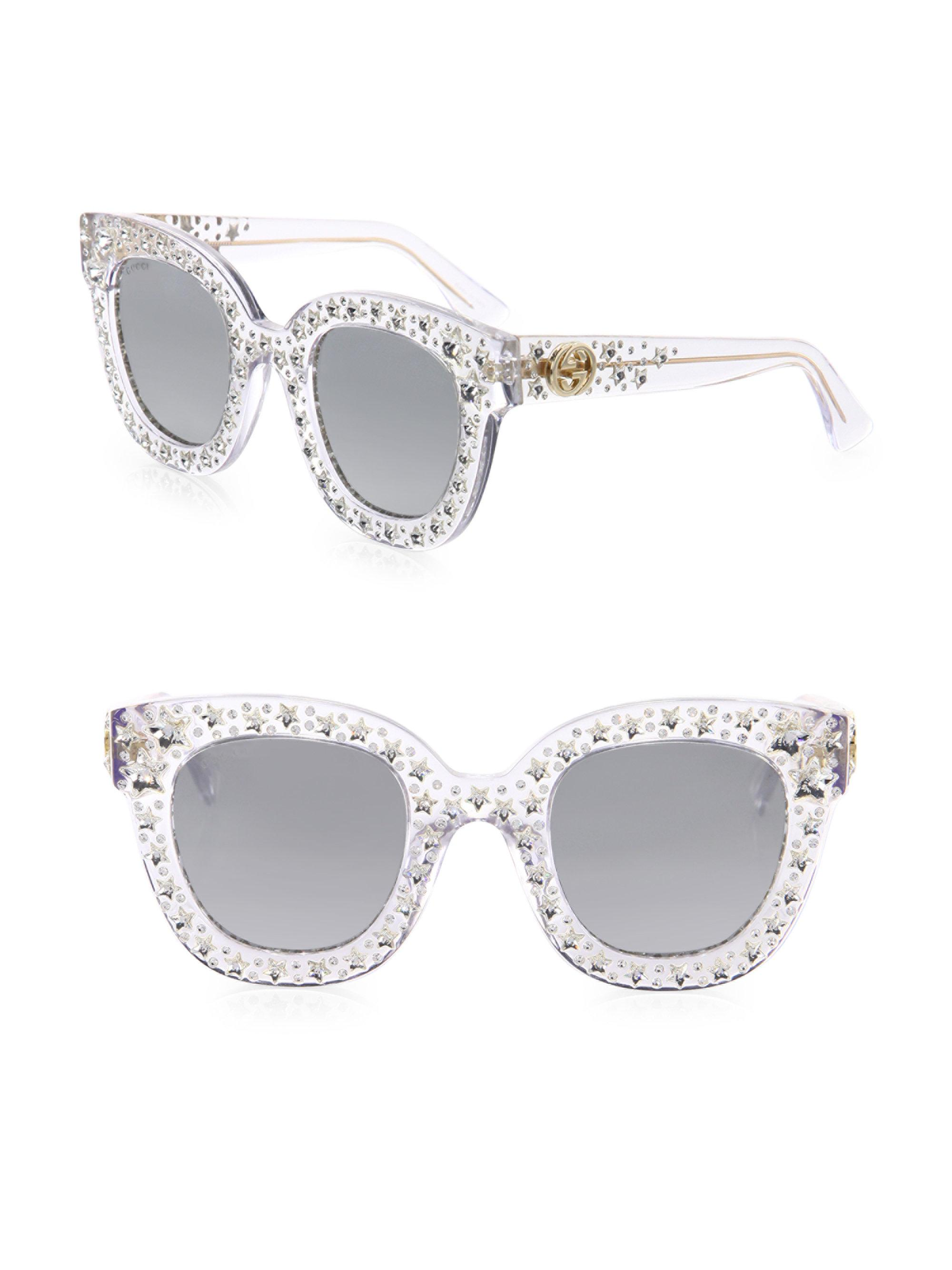 09f6a08ed6a Gucci Oversize Crystal Star Mirrored Square Sunglasses in Metallic ...