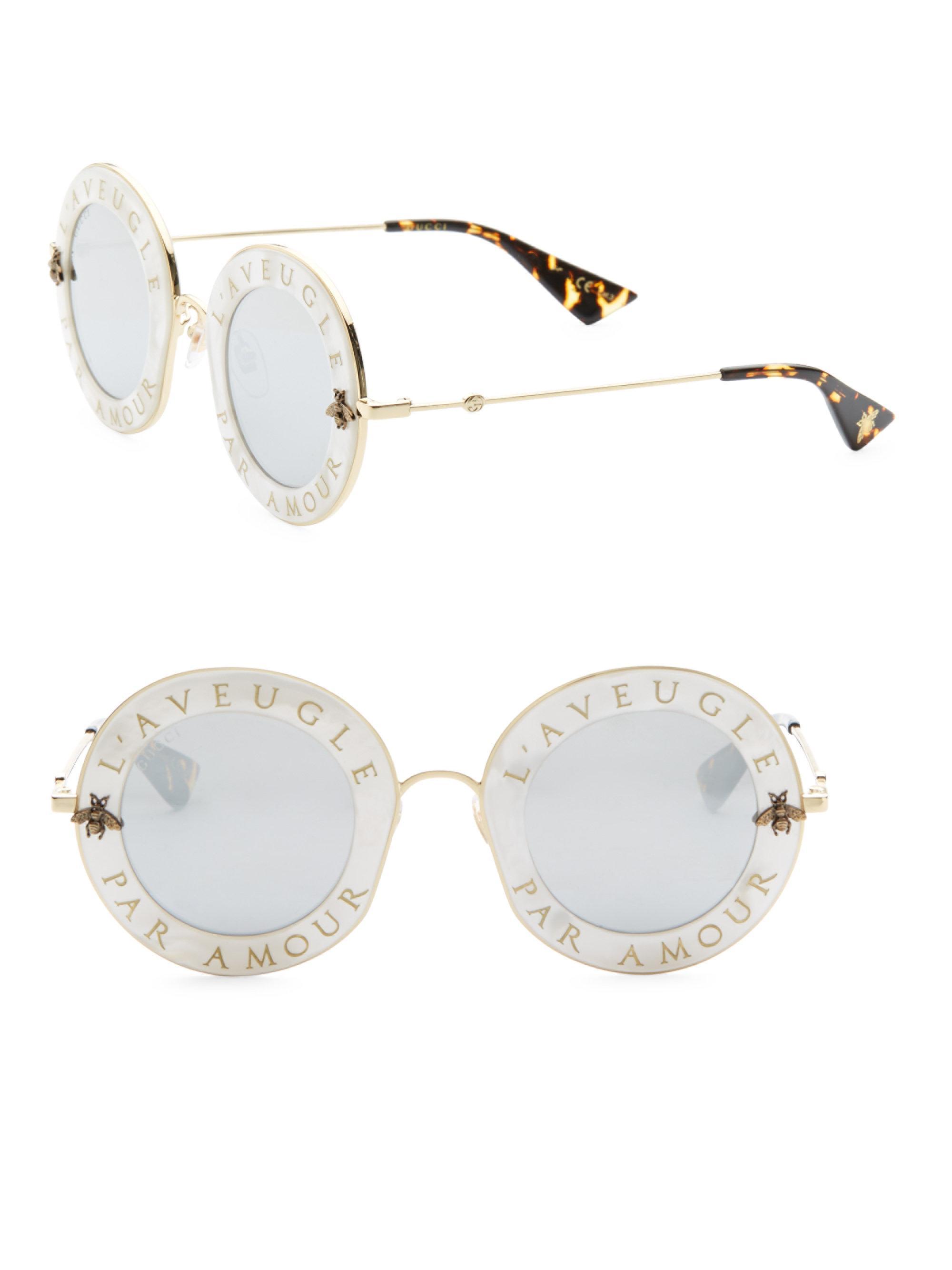 29b3c29bf95 Lyst - Gucci 44mm L aveugle Par Amour Round Sunglasses in White